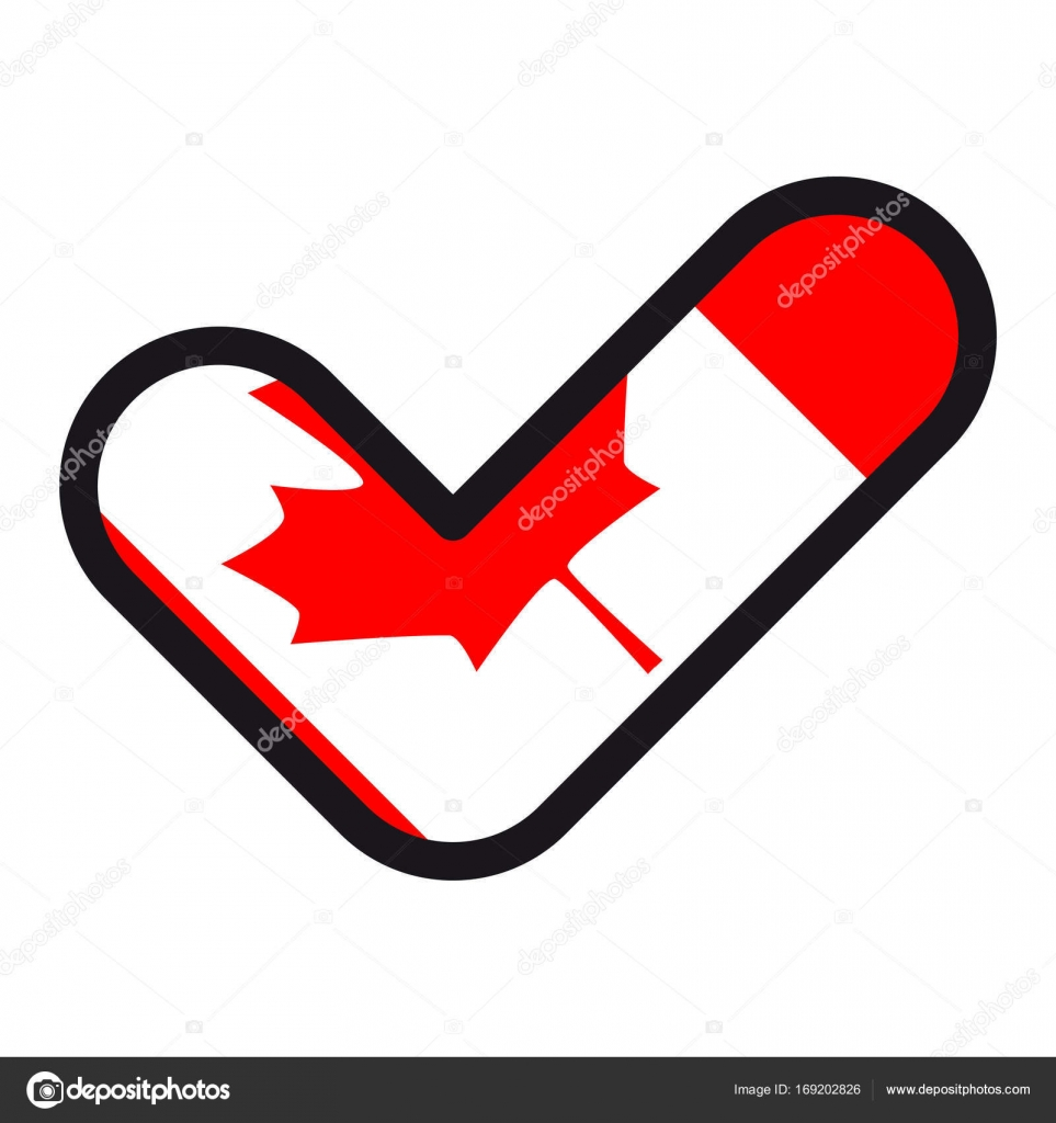 Flag Of Canada In The Shape Of Check Mark Sign Approval Symbol Of