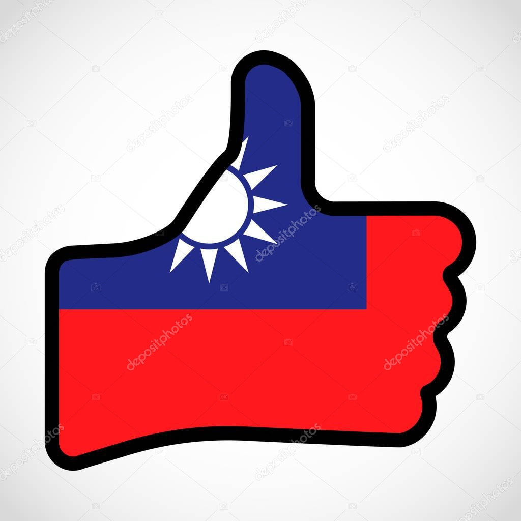 Flag of Taiwan in the shape of Hand with thumb up, gesture of approval, meaning Like, finger sign, flat design illustration.