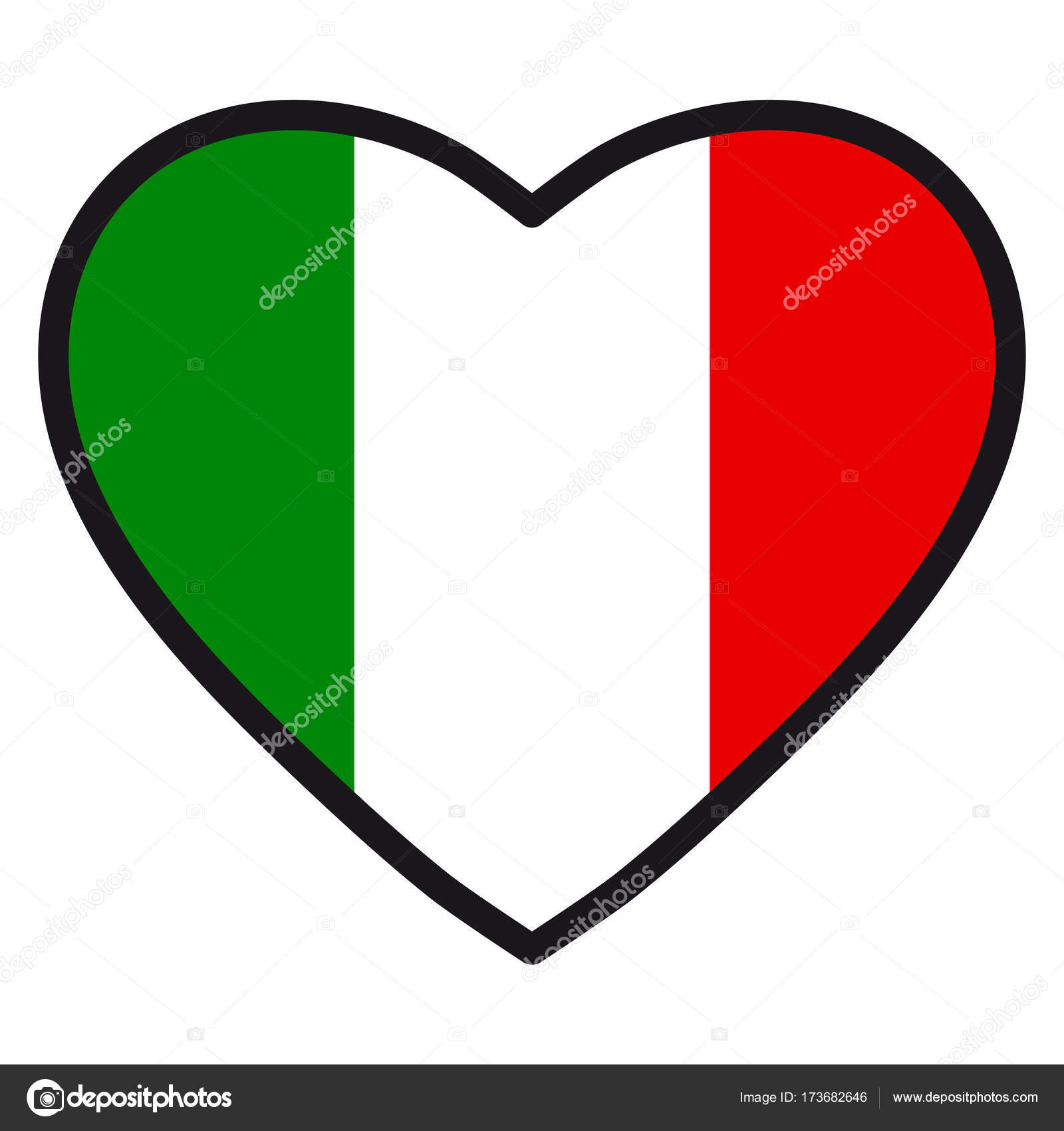 Flag Of Italy In The Shape Of Heart With Contrasting Contour Symbol
