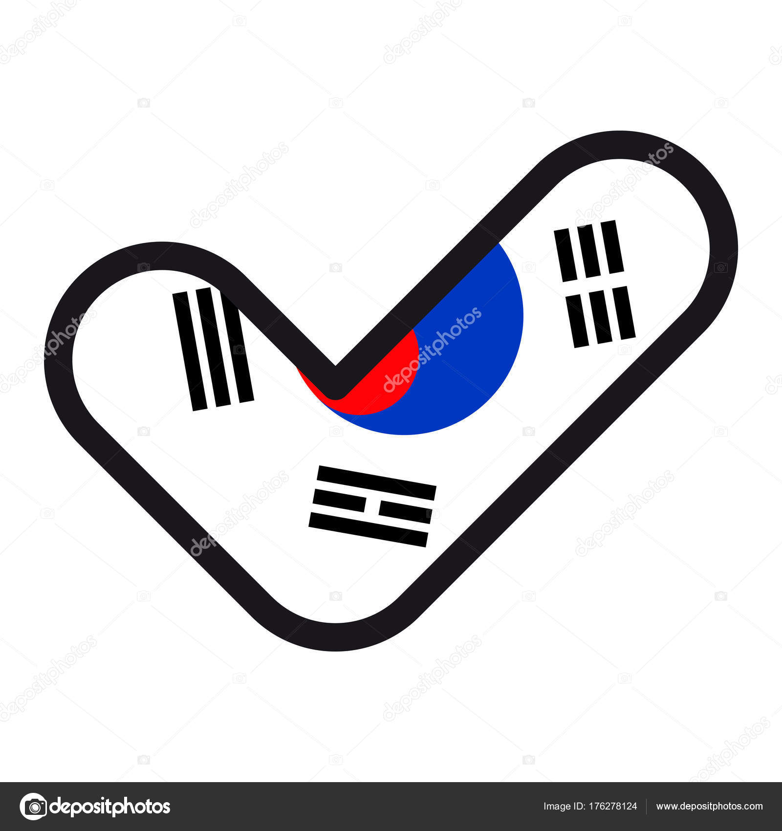 Flag Of South Korea In The Shape Of Check Mark Sign Approval