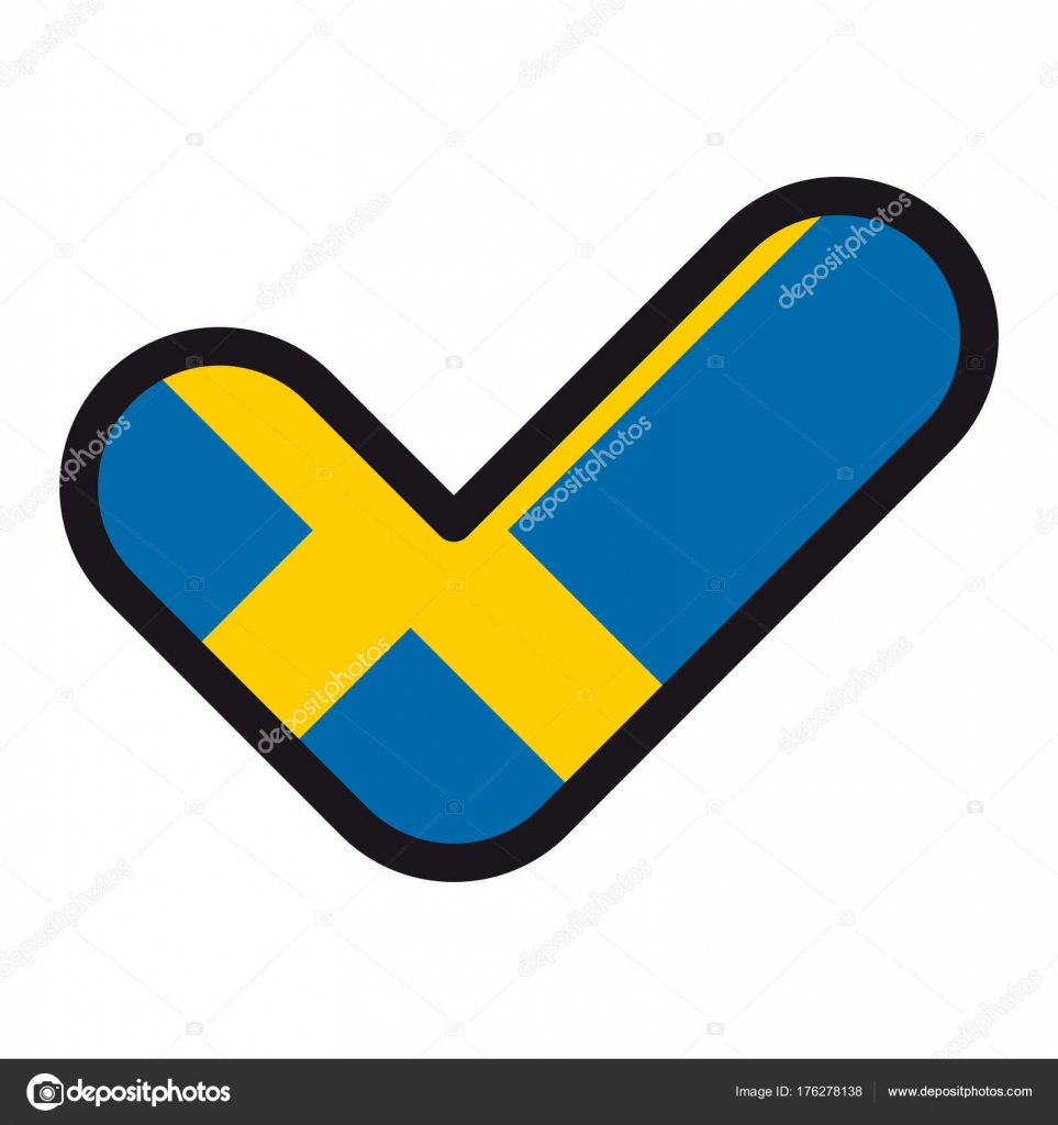 Flag Of Sweden In The Shape Of Check Mark Sign Approval Symbol Of