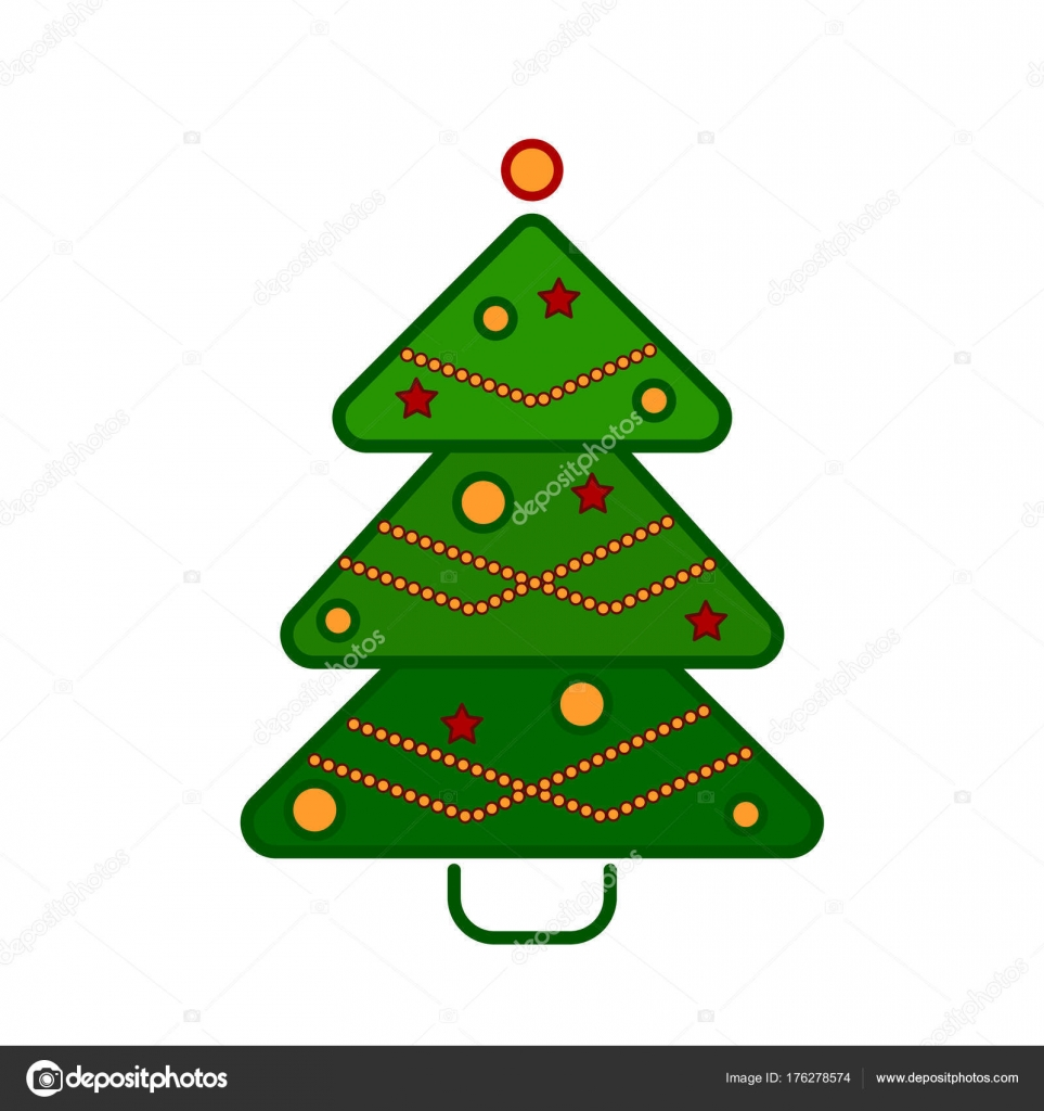 Christmas tree, line colorful icon on a white background. — Stock ...