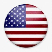 Watercolor Flag of America in the form of a round button with a light glare and a shadow.