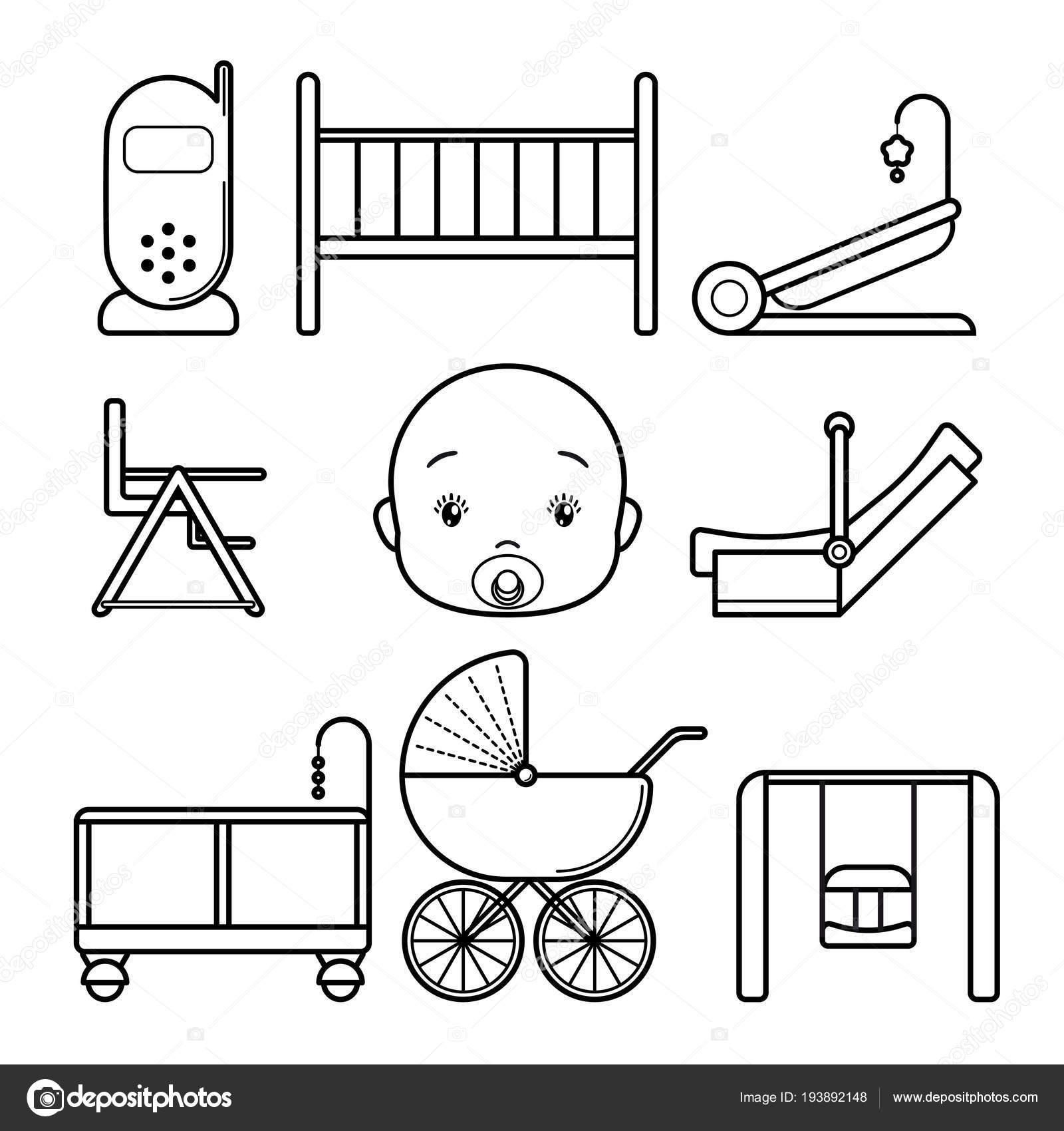 Set bebé iconos, arte de la línea aislada sobre fondo blanco. Silla ...