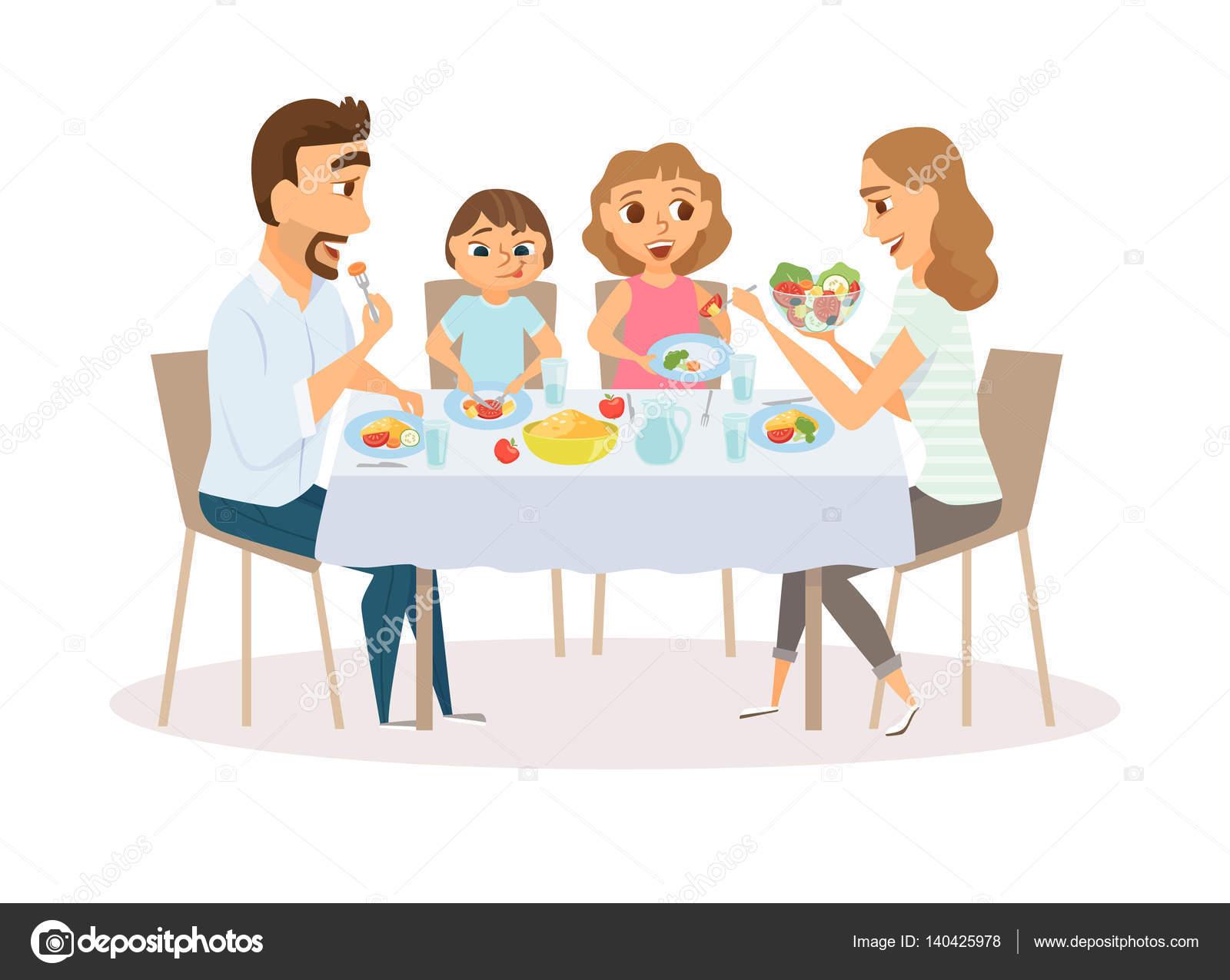 Familia Comiendo — Vector De