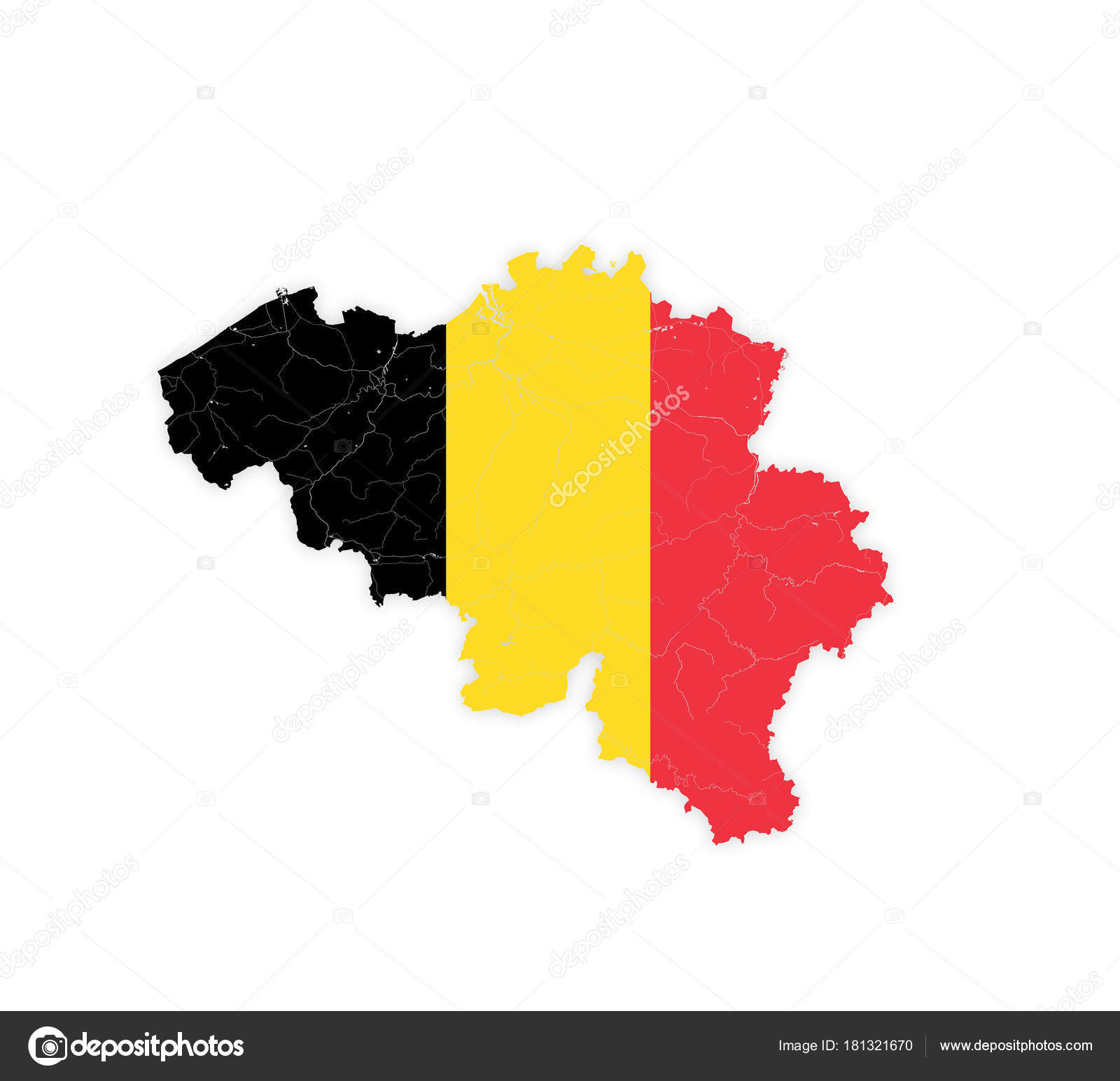 map of belgium with rivers and lakes in colors of the flag stock vector