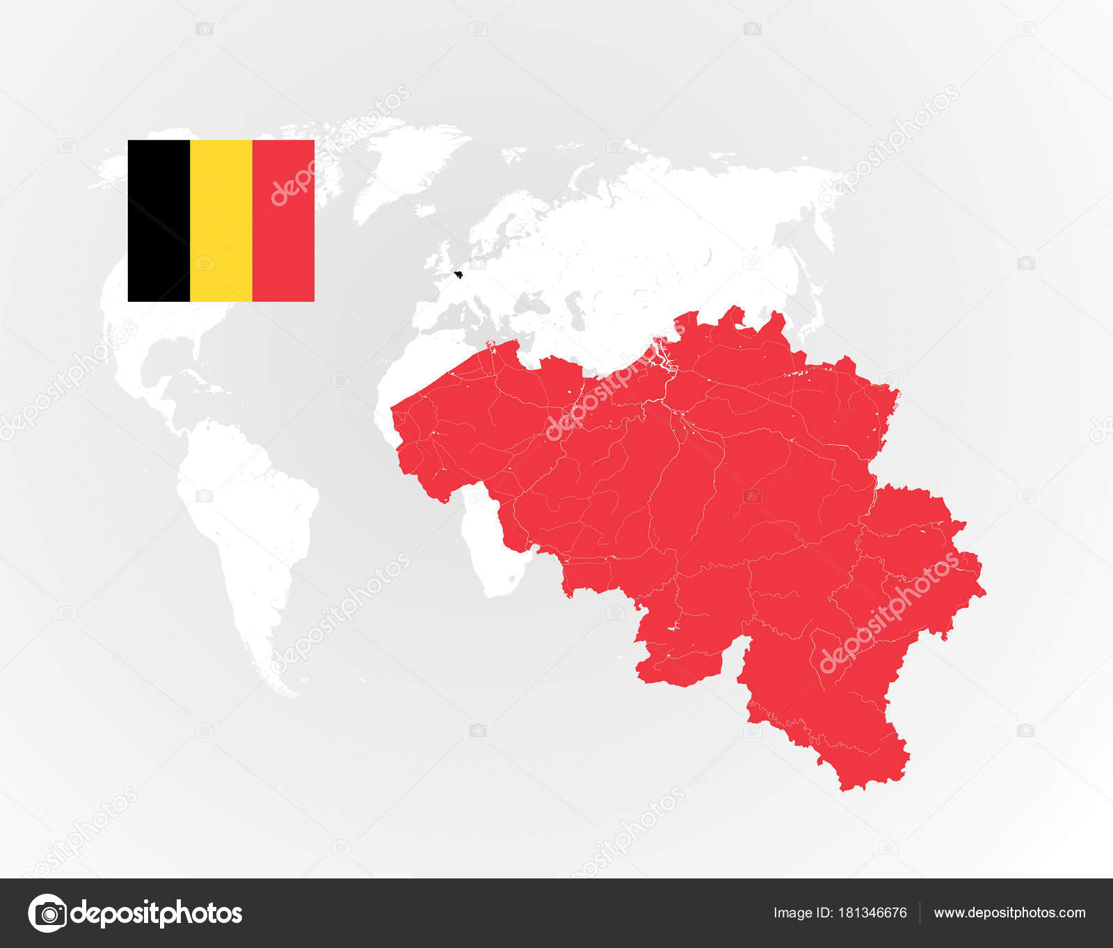 map of belgium with rivers and lakes national flag of belgium and world map as