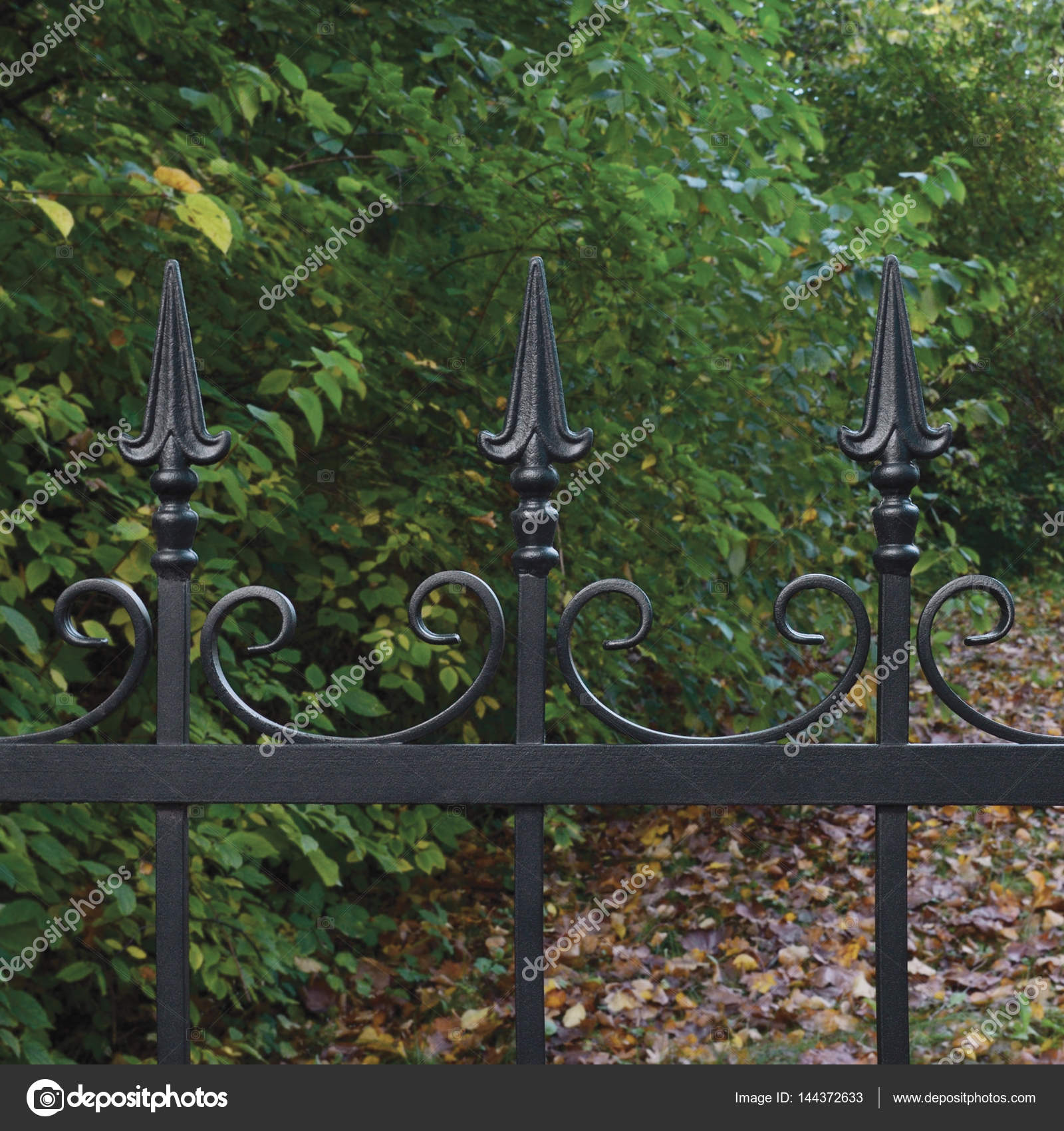 schwarz dekorative Schmiedeeisen Zaun Closeup herbstliche Bäume