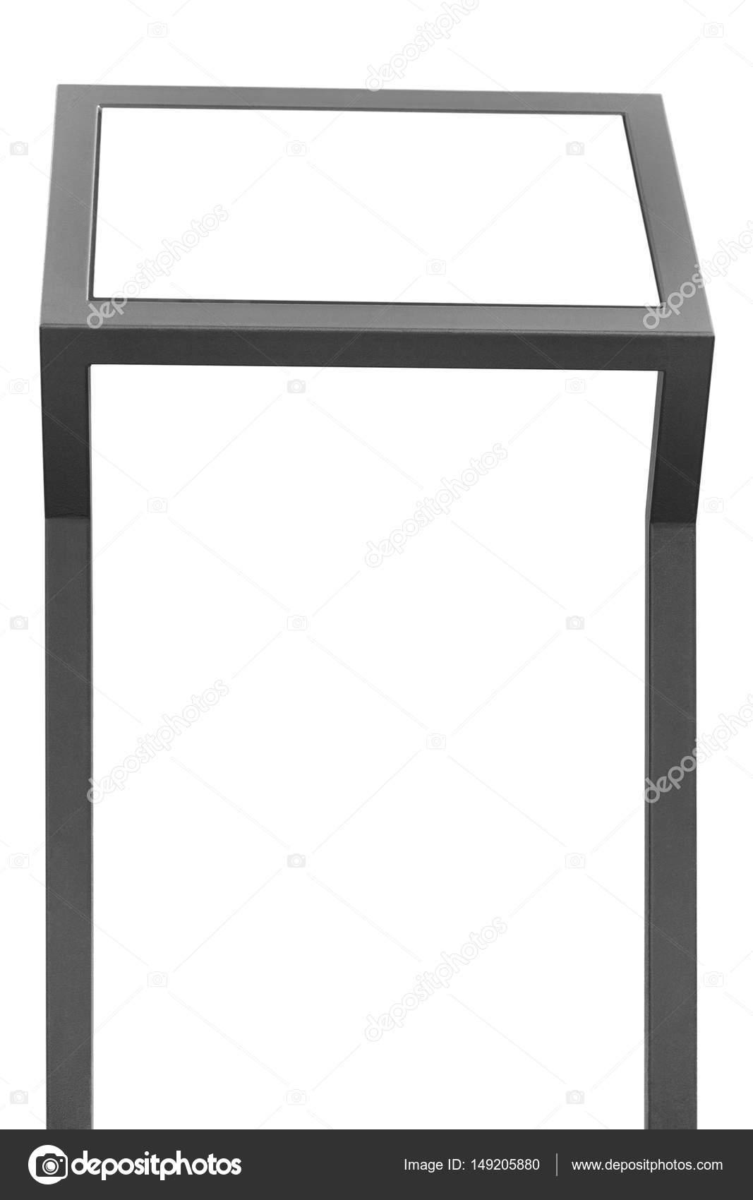 Info display stand, grey metal rack info board, isolated horizontal ...