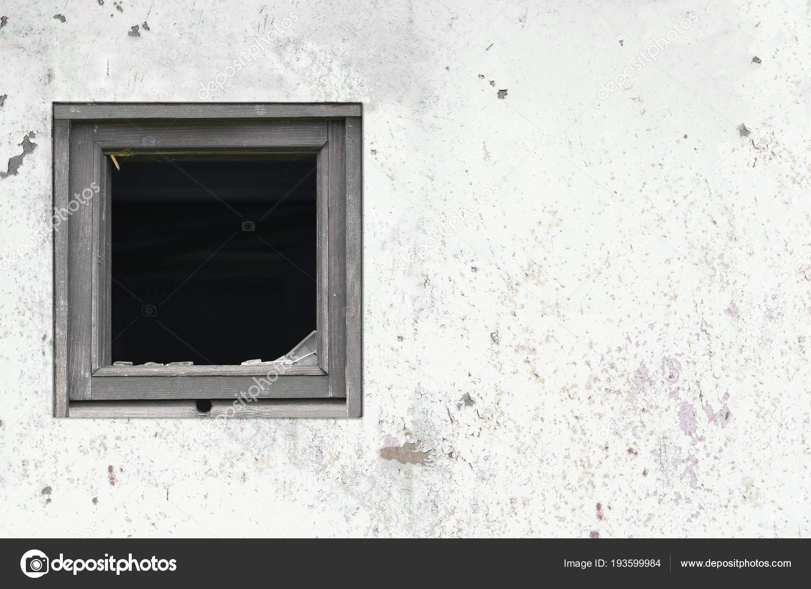 Old aged rusted grey black white shack hut wall paint broken window ...