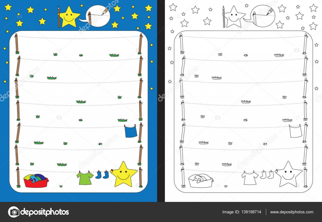 Kleine Sterne Vorschul-Arbeitsblatt — Stockvektor © nahhan #139198714