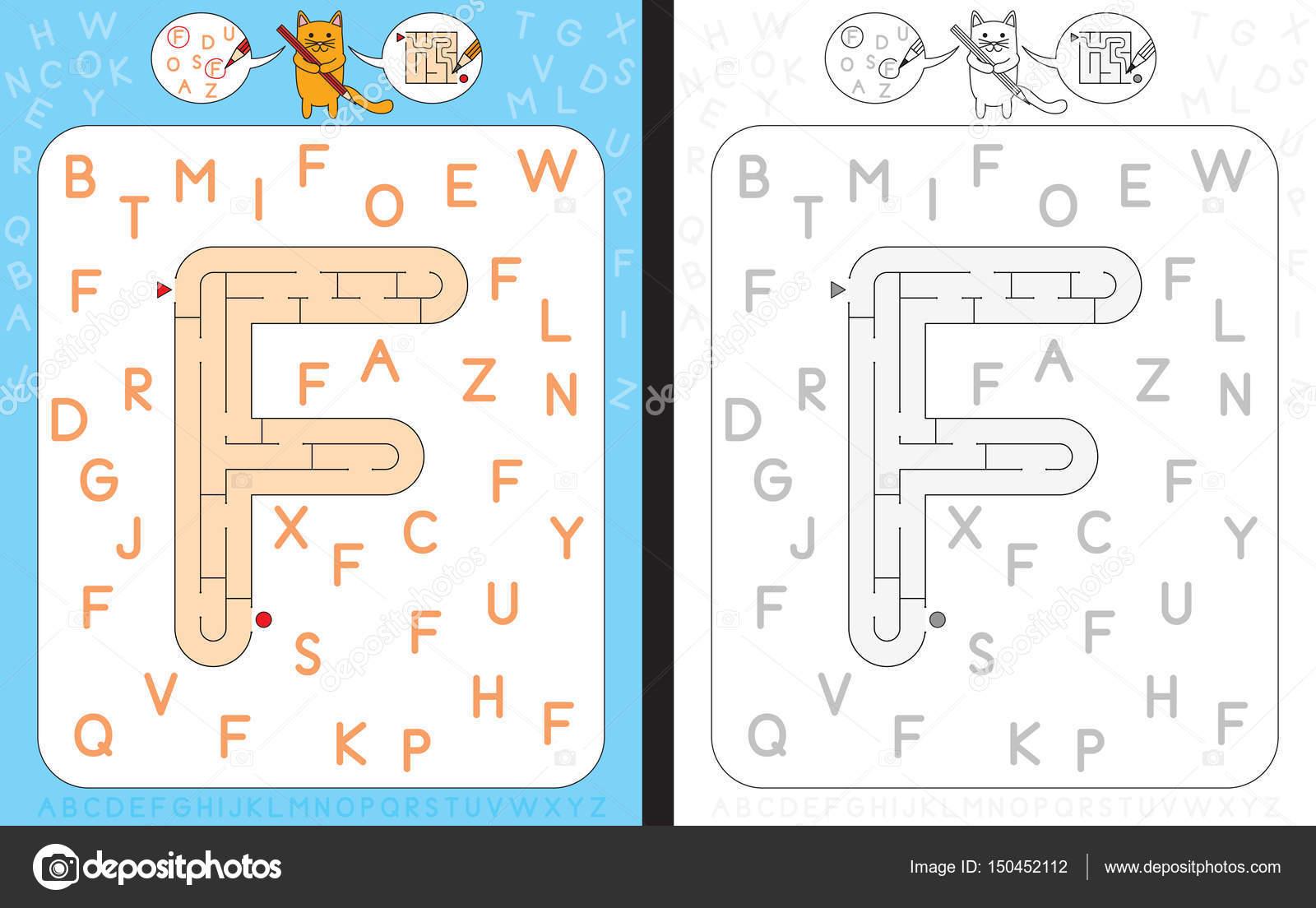 Labyrinth-Buchstabe F — Stockvektor © nahhan #150452112