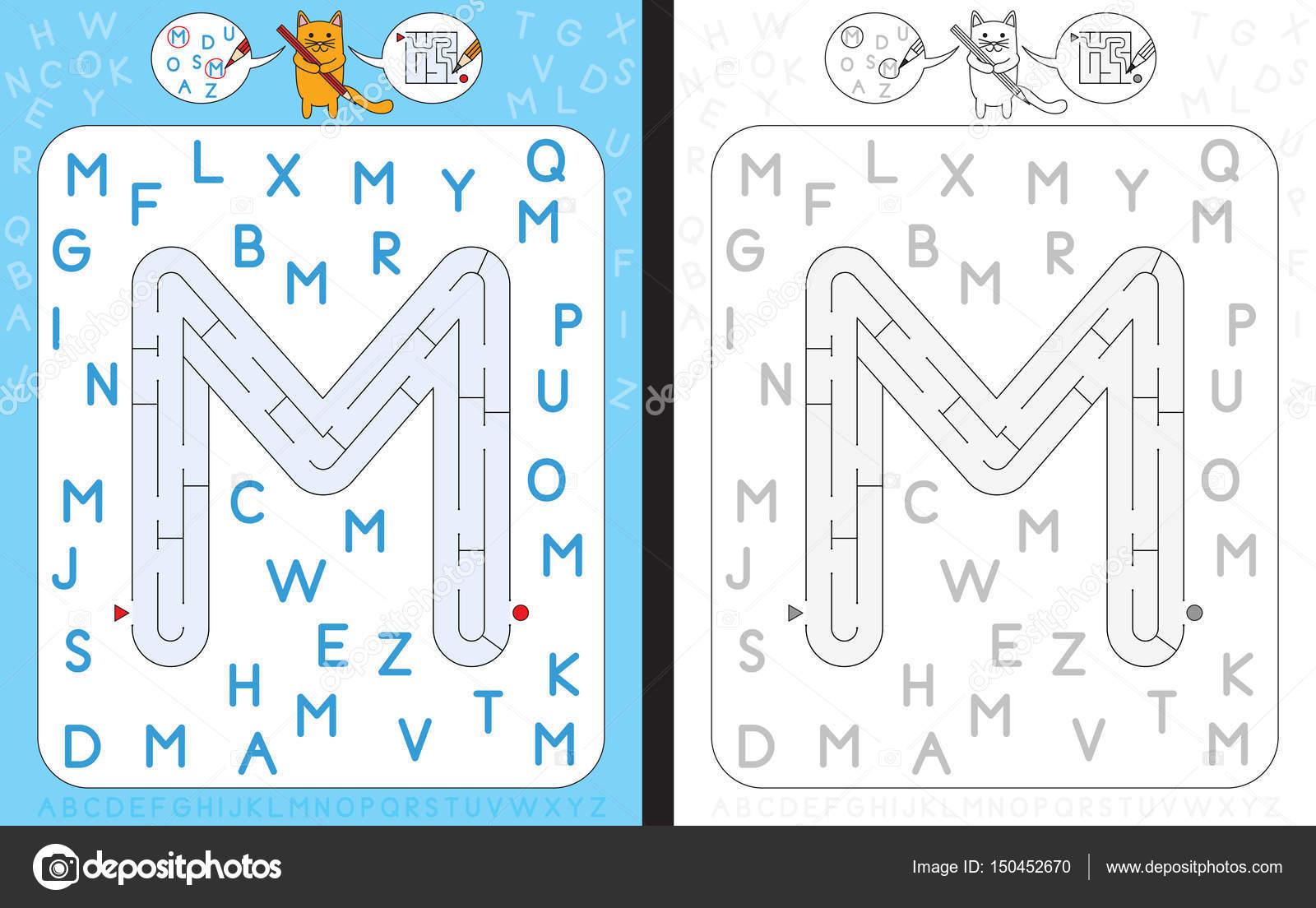 Letra de laberinto M — Archivo Imágenes Vectoriales © nahhan #150452670