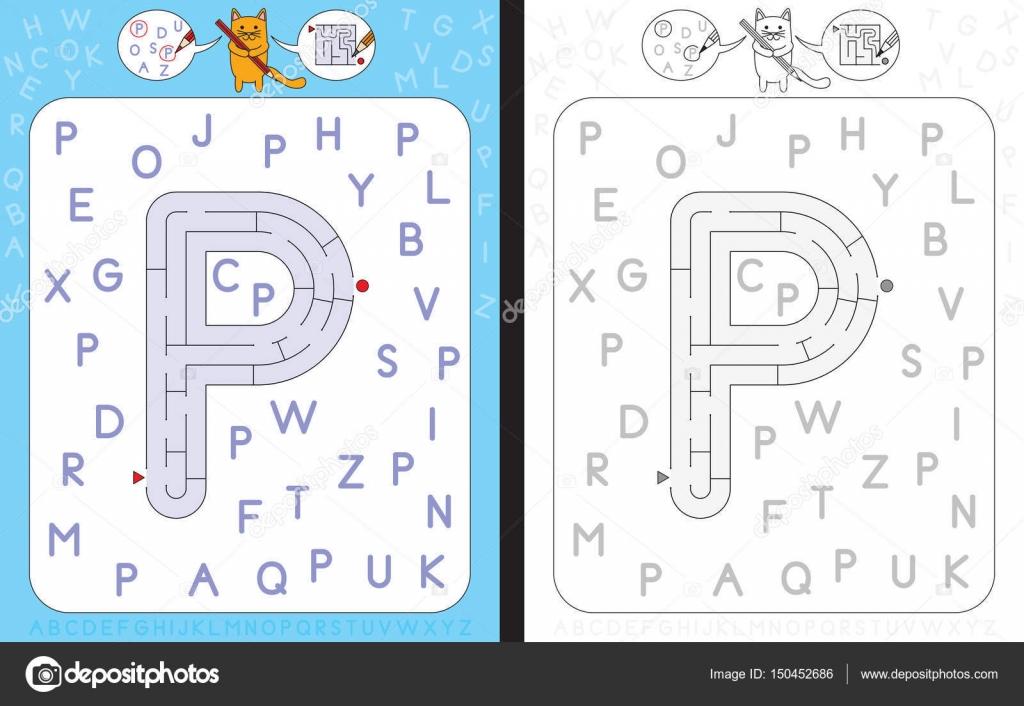 Labyrinth-Buchstabe P — Stockvektor © nahhan #150452686