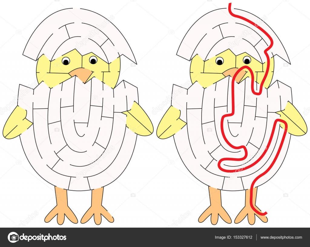 Dibujos Pollos Faciles Laberinto De Pollo Fácil Vector
