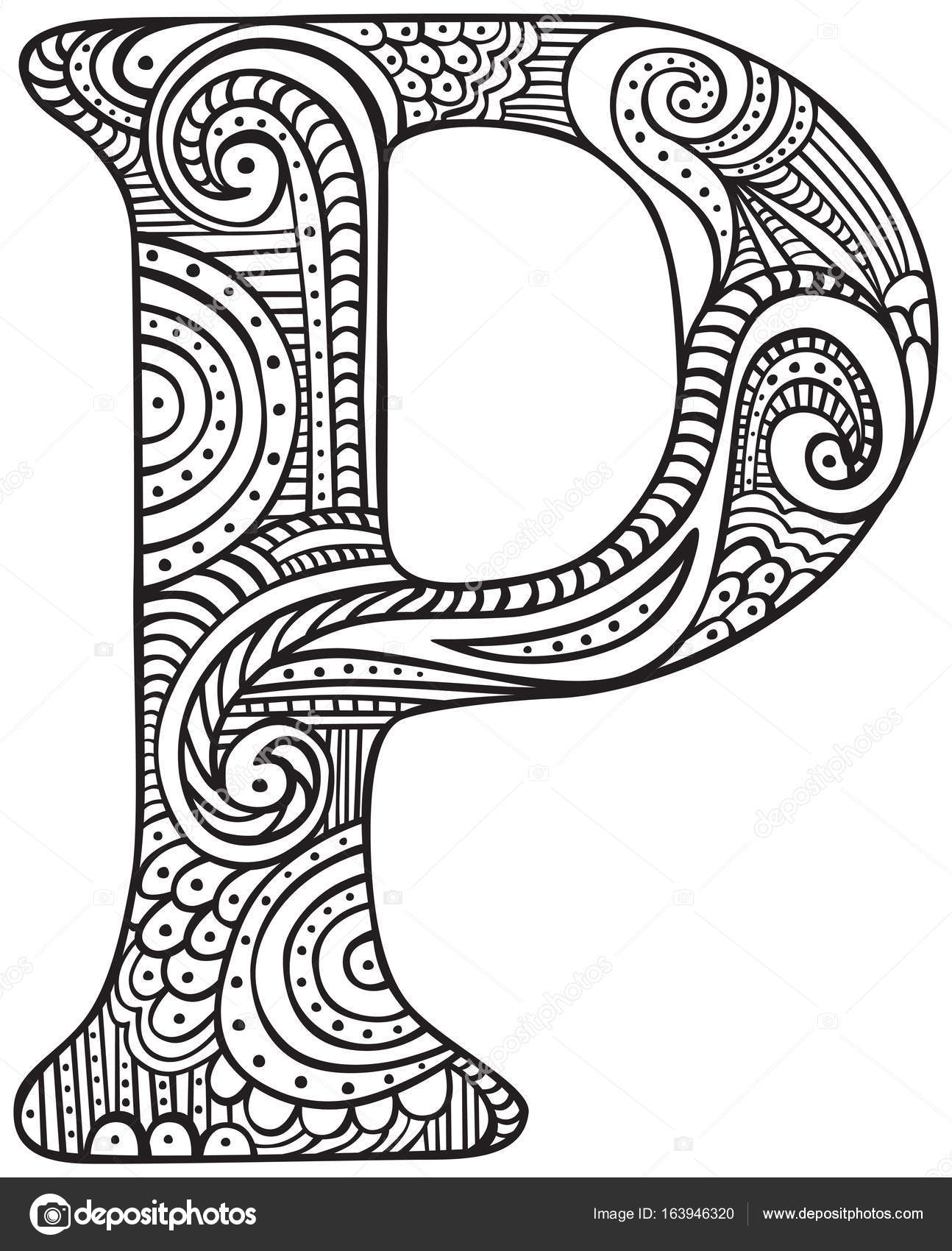 Dibujo letra P — Vector de stock © nahhan #163946320