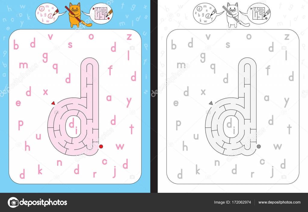 Labyrinth-Buchstabe D — Stockvektor © nahhan #172062974