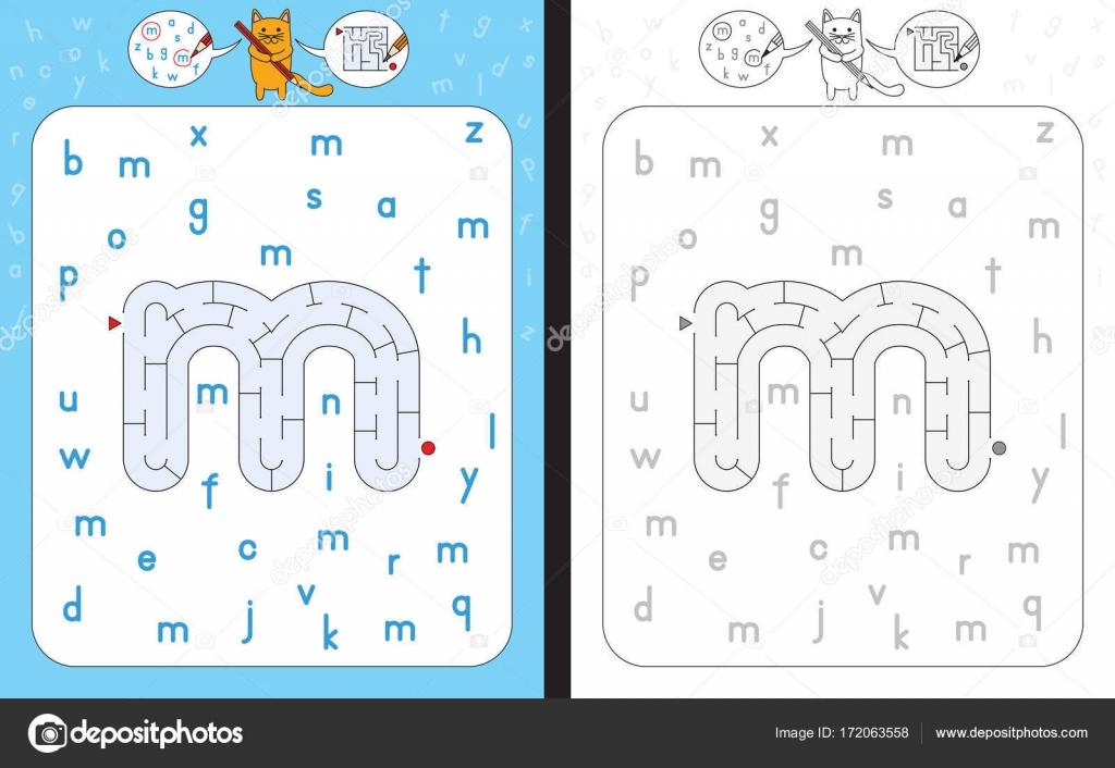 Letra de laberinto M — Archivo Imágenes Vectoriales © nahhan #172063558