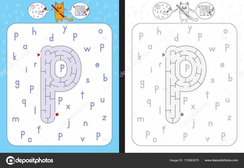 Labyrinth-Buchstabe P — Stockvektor © nahhan #172063570