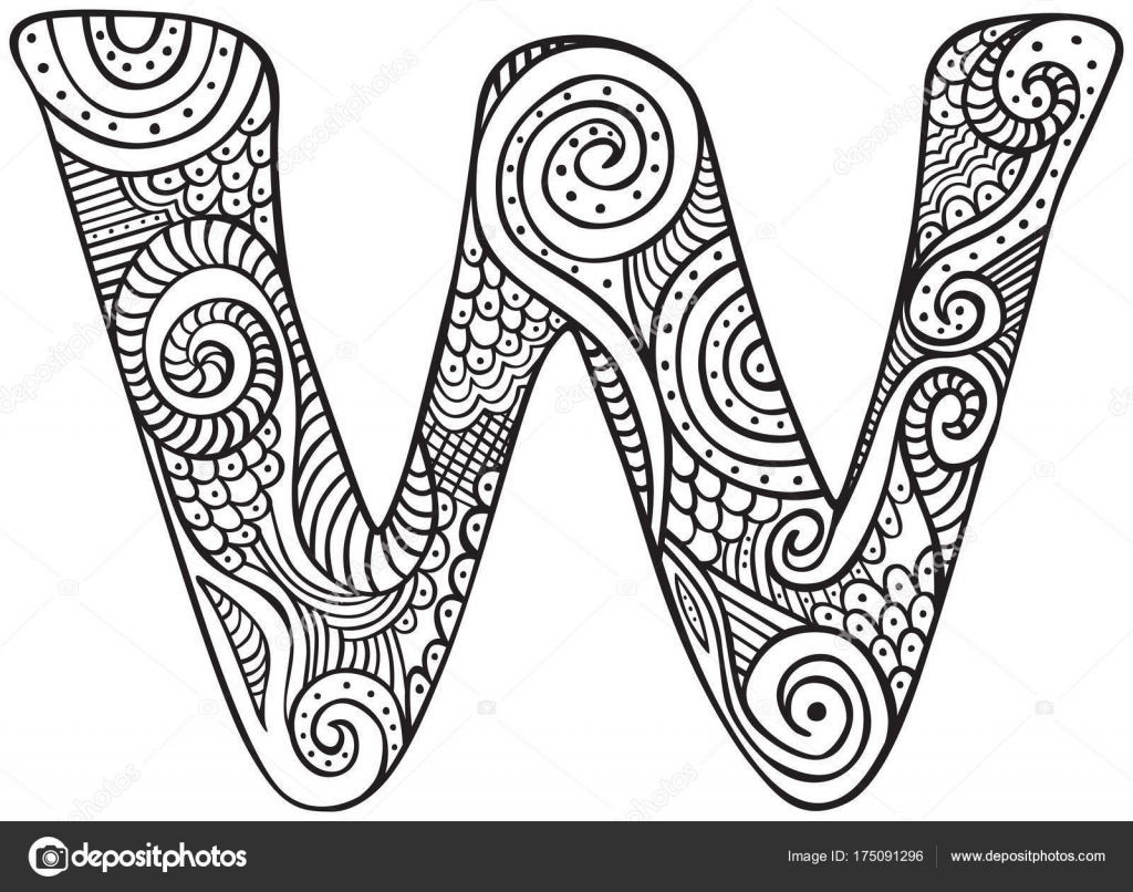 Dibujo letra W — Archivo Imágenes Vectoriales © nahhan #175091296