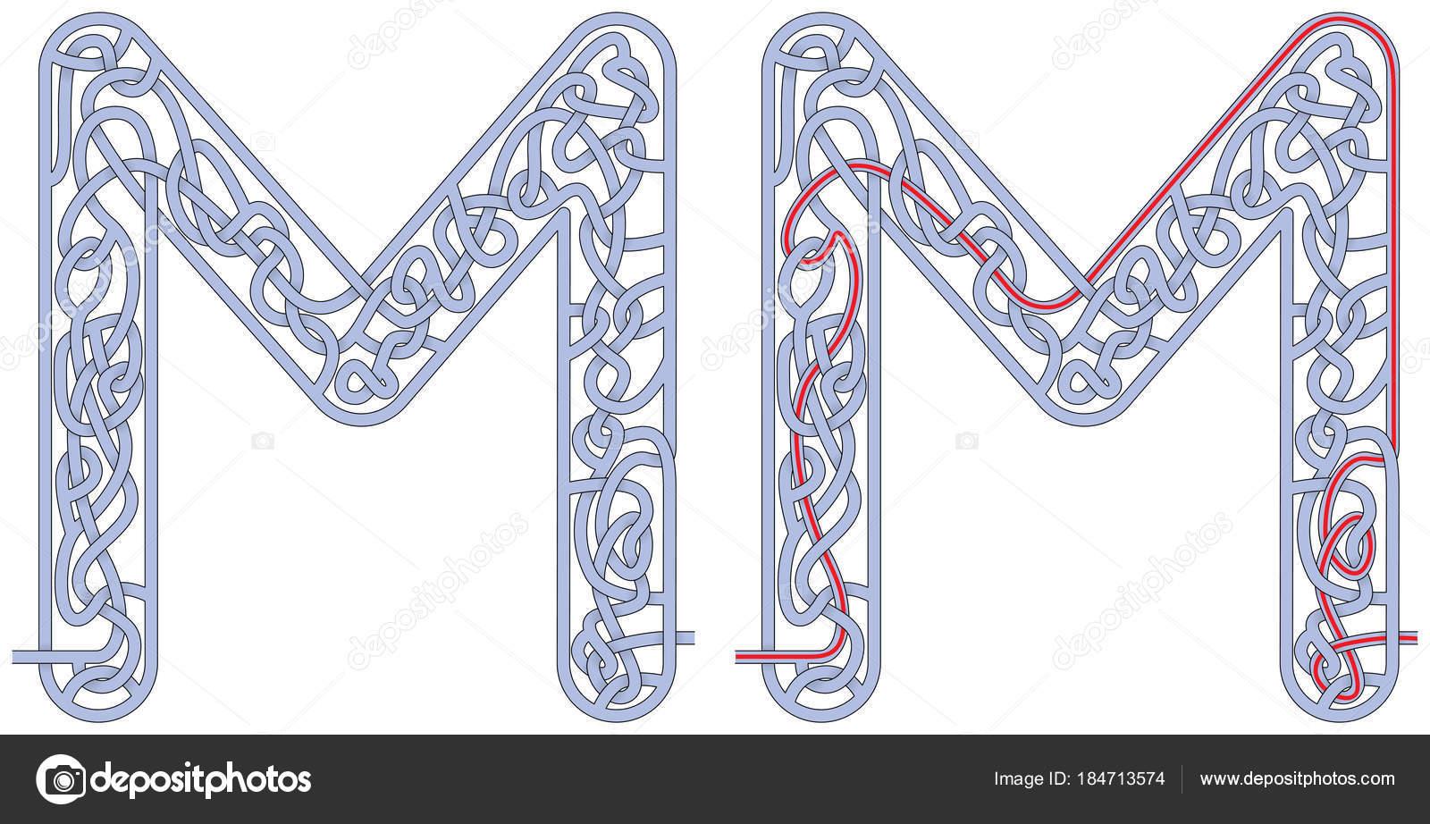Letra de laberinto M — Archivo Imágenes Vectoriales © nahhan #184713574