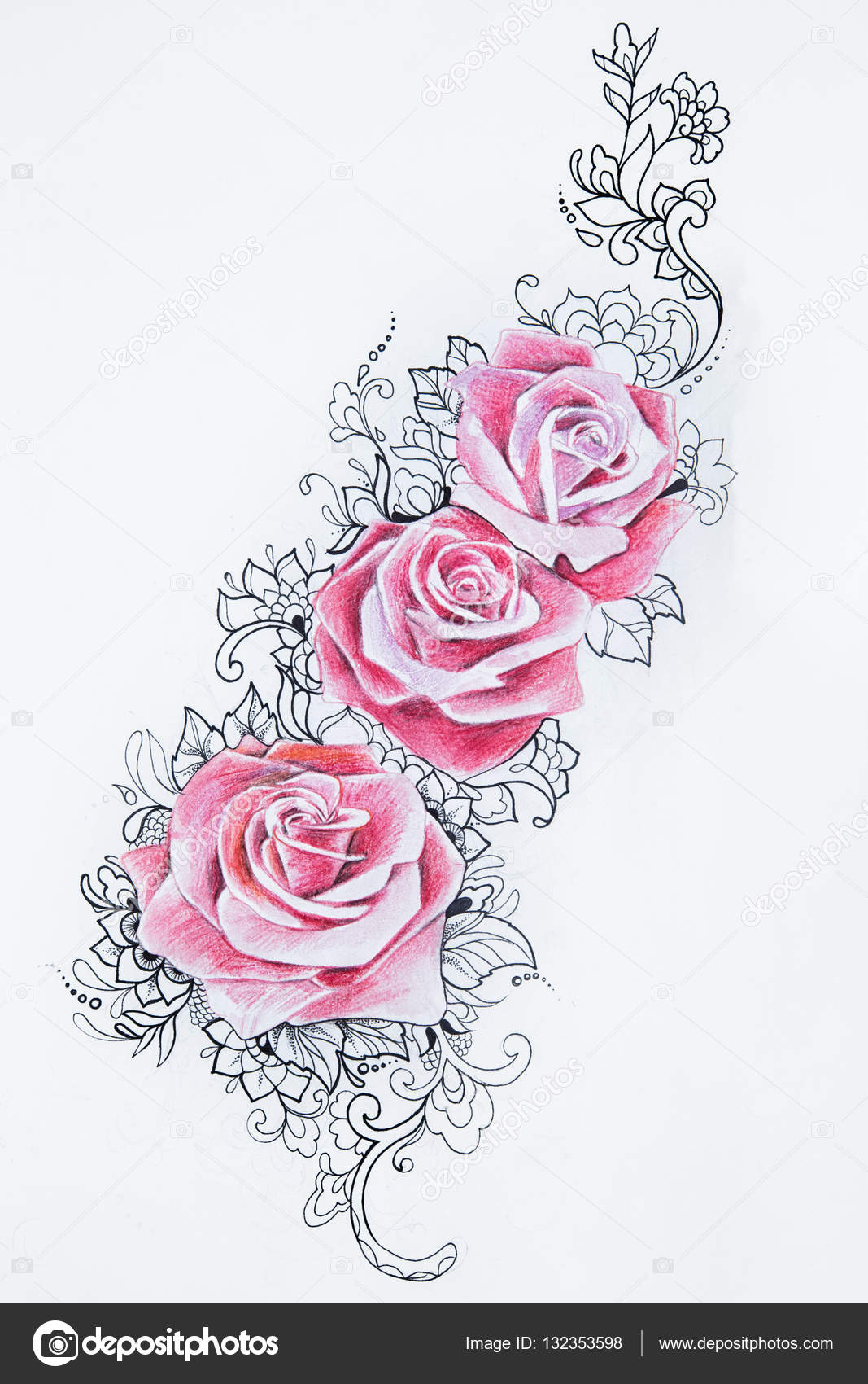 Dibujos Rosas Rojas Hermosas Dibujo De Hermosas Rosas Rojas Con