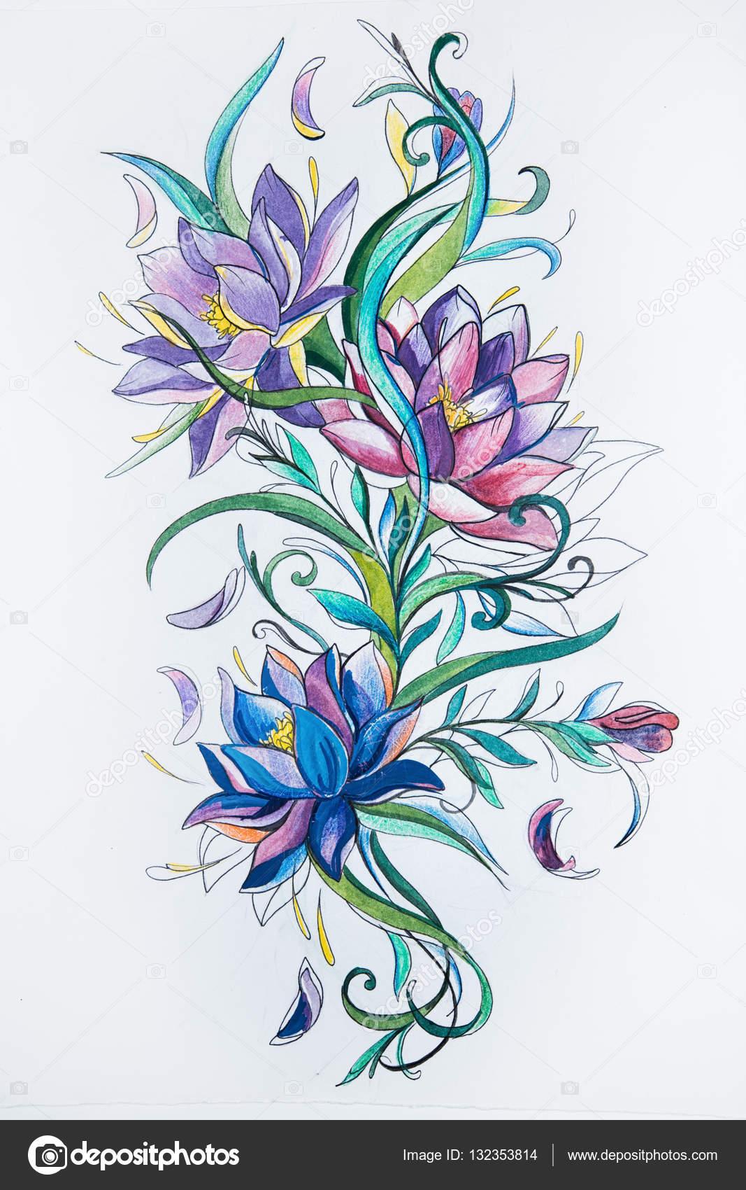Dibujos Flores Coloridas Dibujo De Hermosas Flores Coloridas