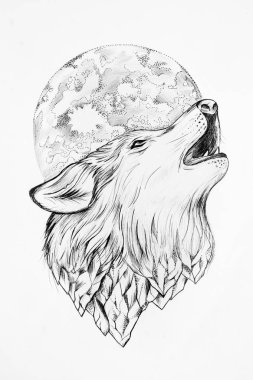 Sketch of a wolf howling at the moon white background.