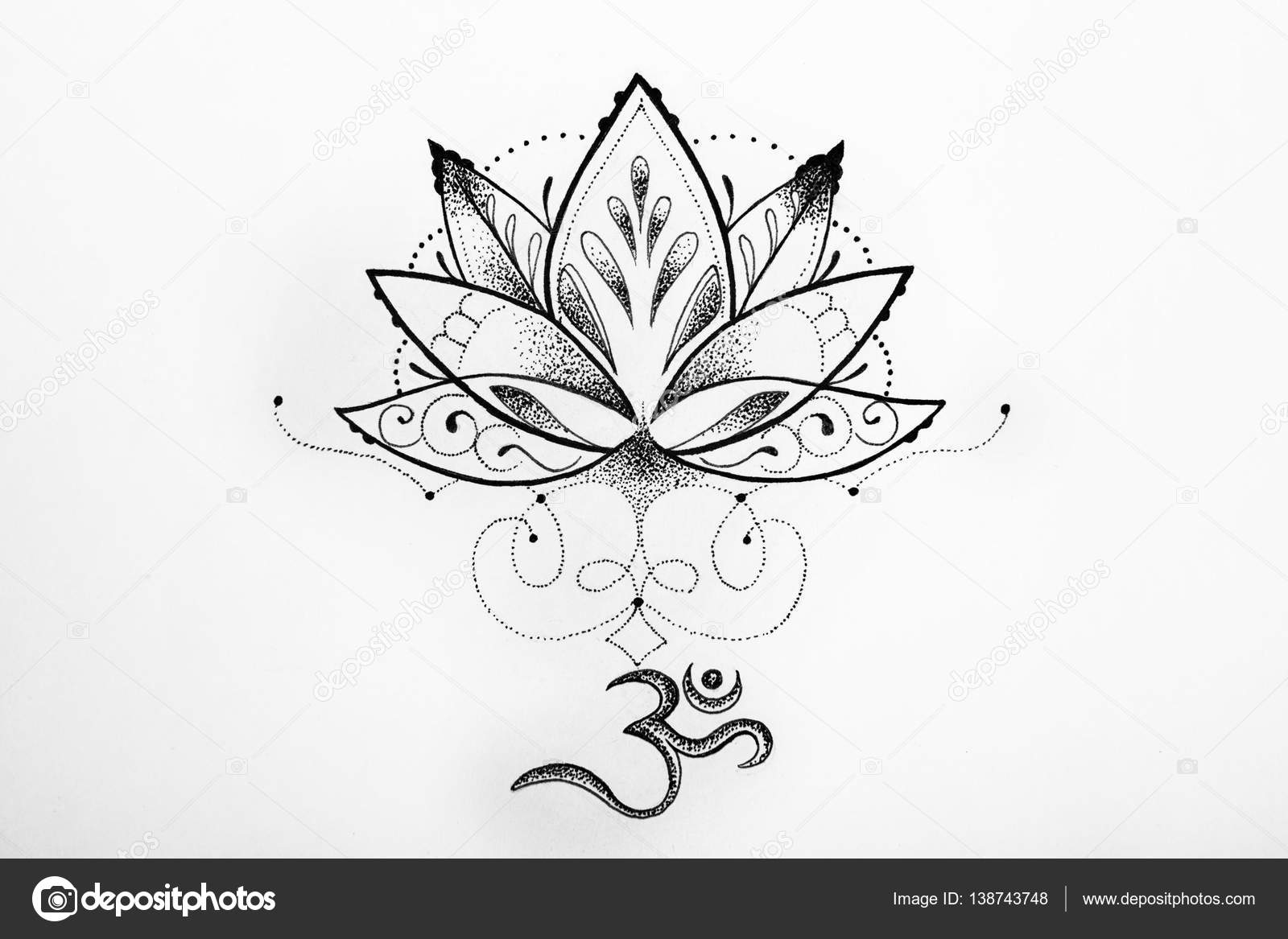 Sketch Lotus And Om Signs On A White Background.