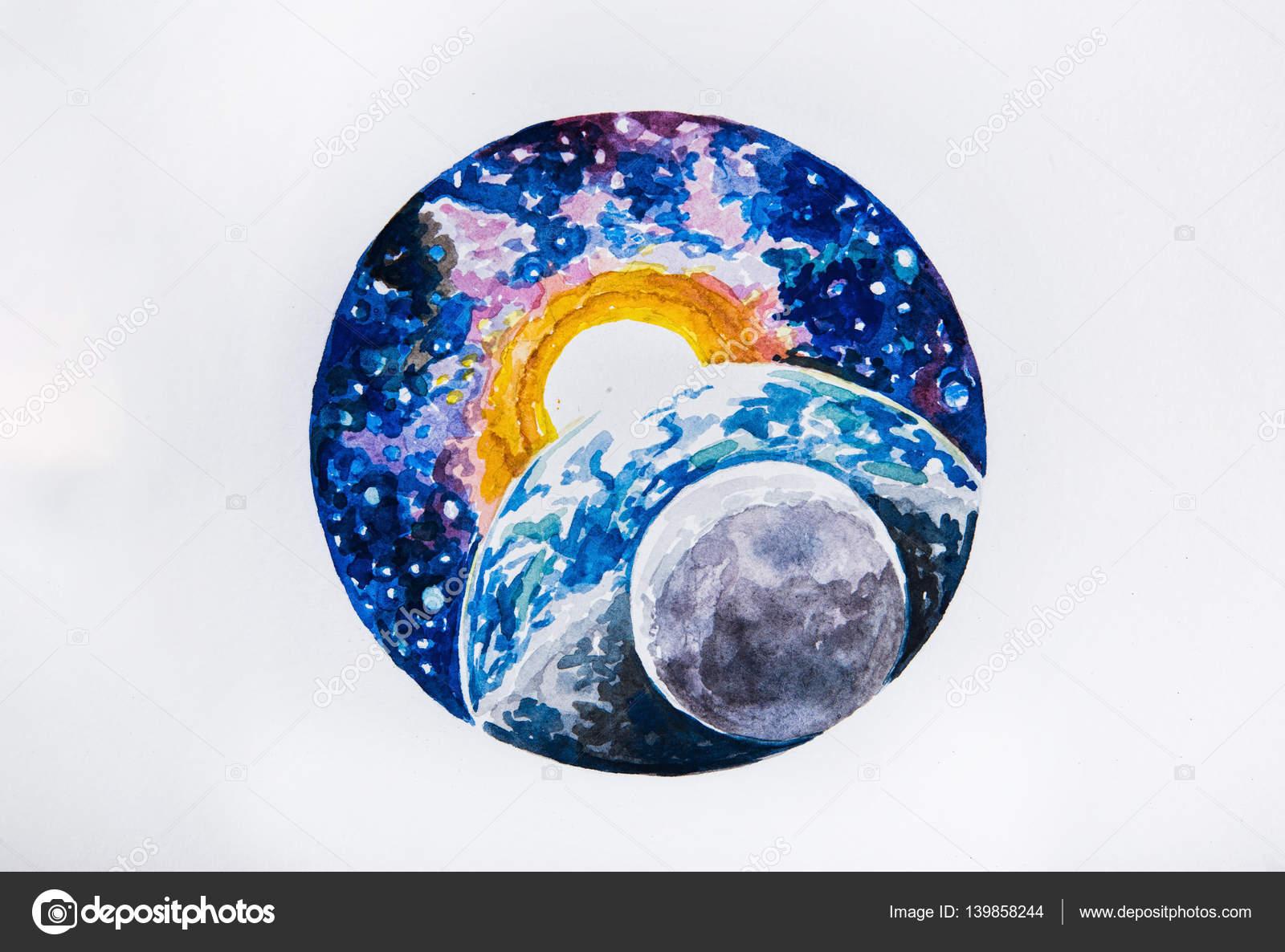 Dibujar El Planeta Tierra Dibujo De Planeta Tierra Y El Sol Sobre