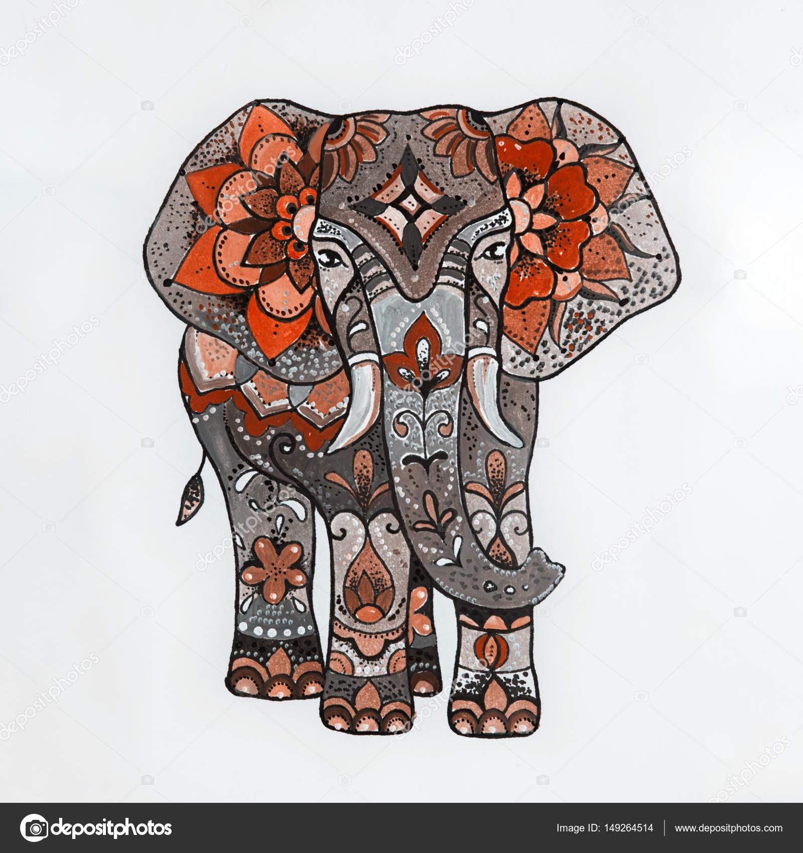 Ongekend Roter Elefant mit schönen Mustern zu skizzieren. — Stockfoto RY-33