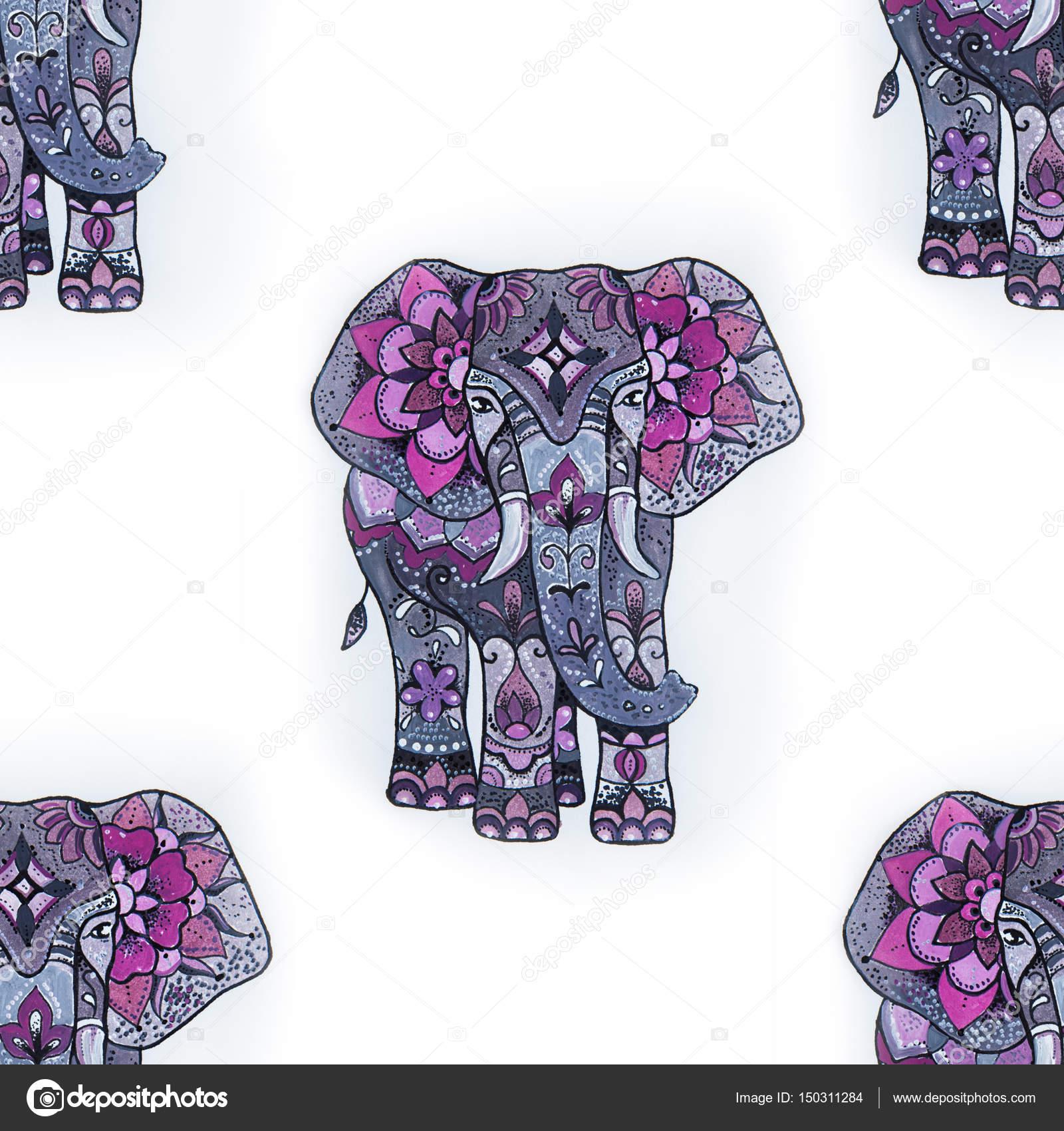 Nahtlose Muster eines Elefanten auf einem weißen Hintergrund ...