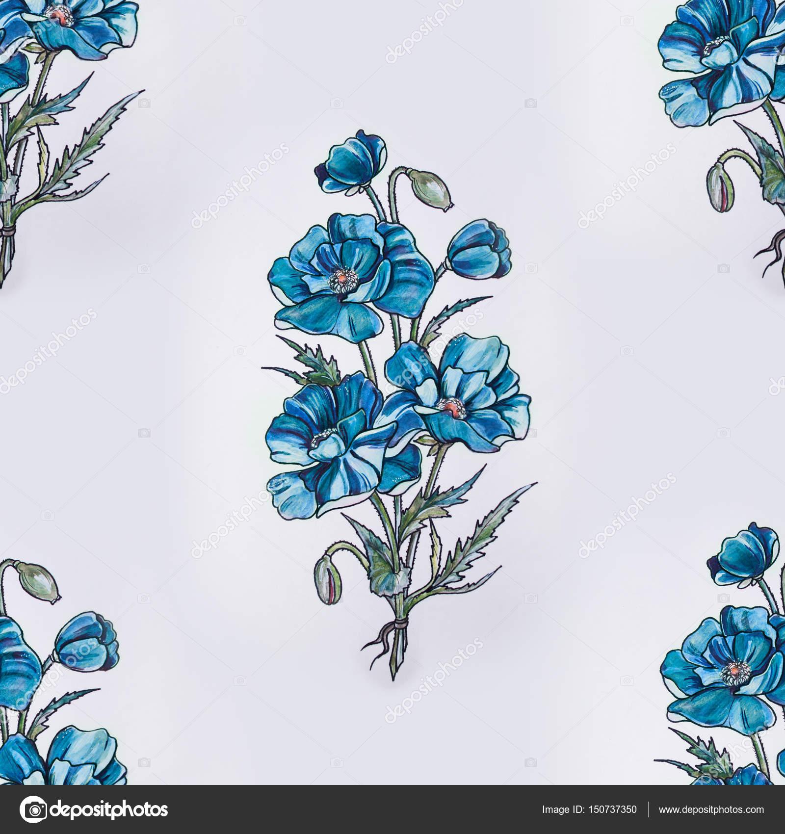 Patron Sin Fisuras De Hermosas Flores Azules Sobre Fondo Blanco