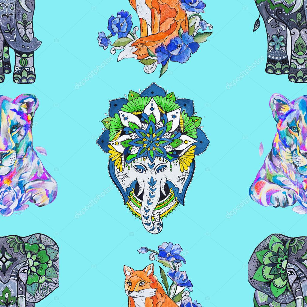 Seamless pattern, elephant, fox and lion on a turquoise background.