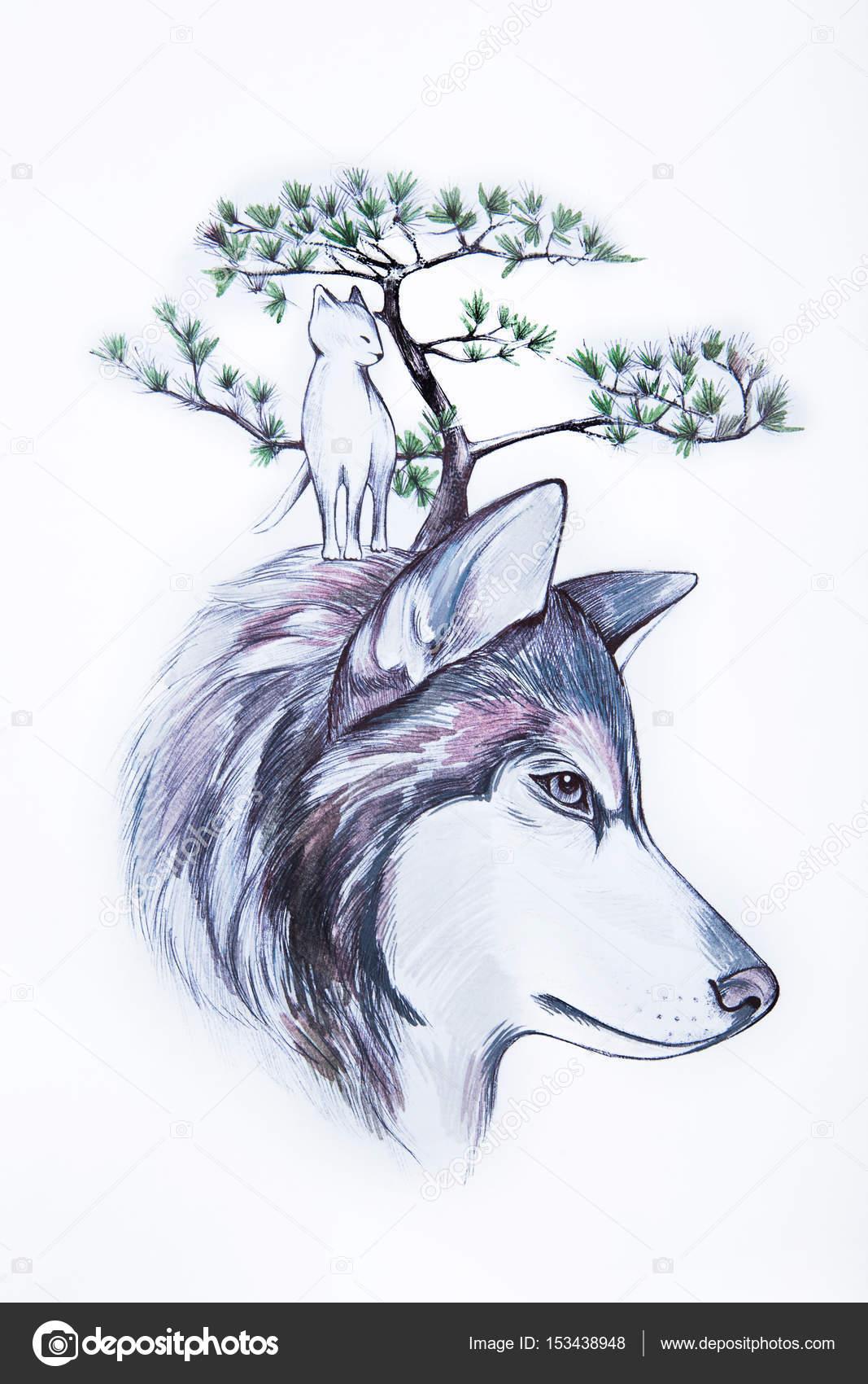Dibujo de cabeza de lobo y el gato y el árbol sobre fondo blanco ...