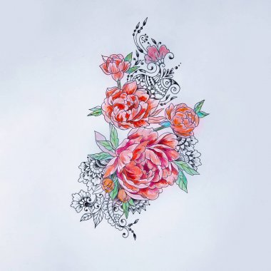 Sketch of a beautiful branch of red peonies on a white background.