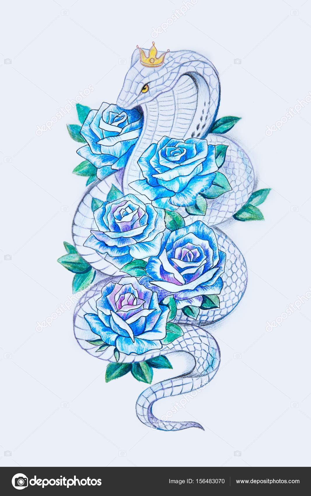 Dibujos Rosas Azules Un Dibujo De Una Hermosa Serpiente Con Rosas