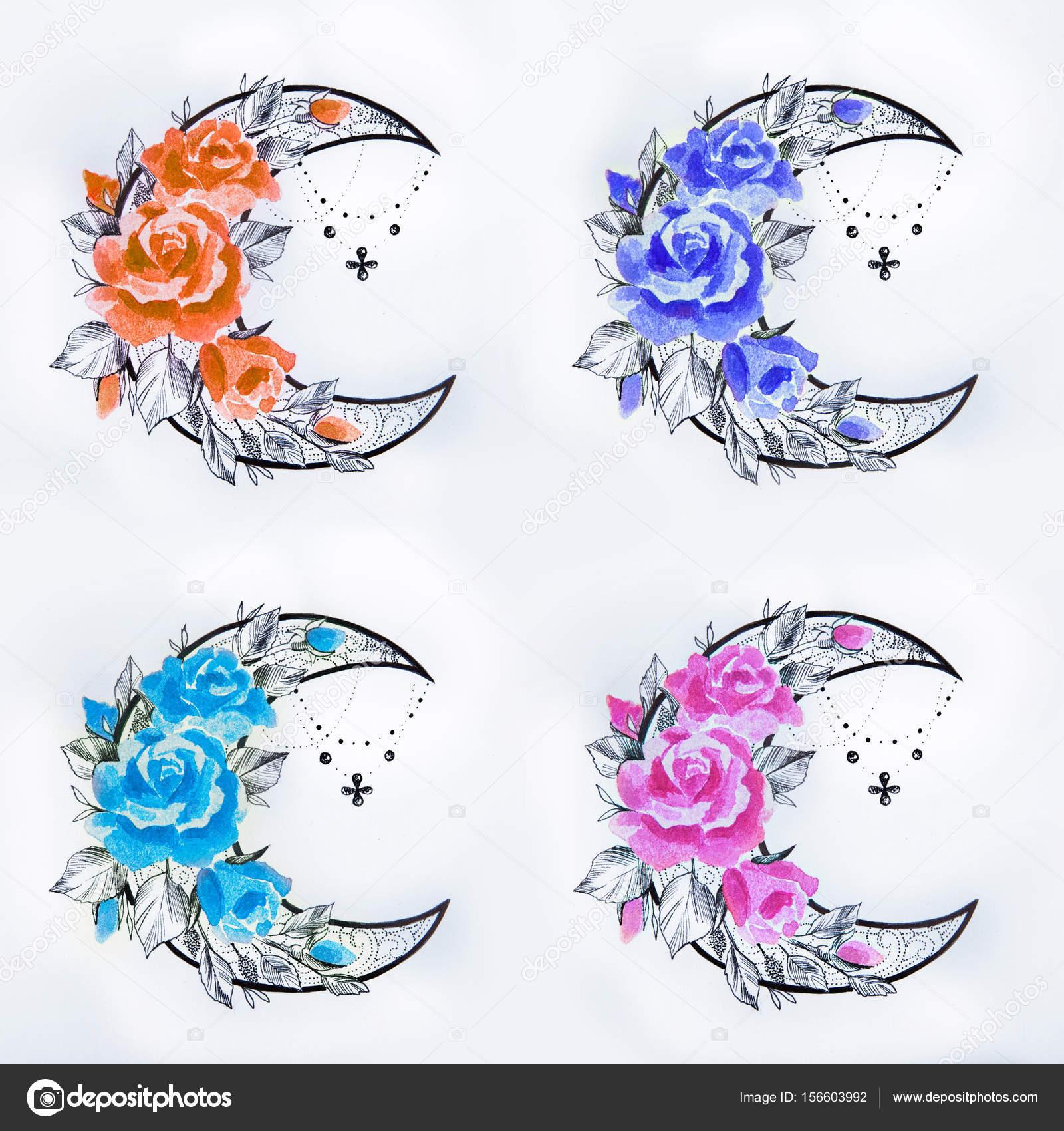 Conjunto De Un Dibujo De Una Media Luna En Flores Sobre Un Fondo