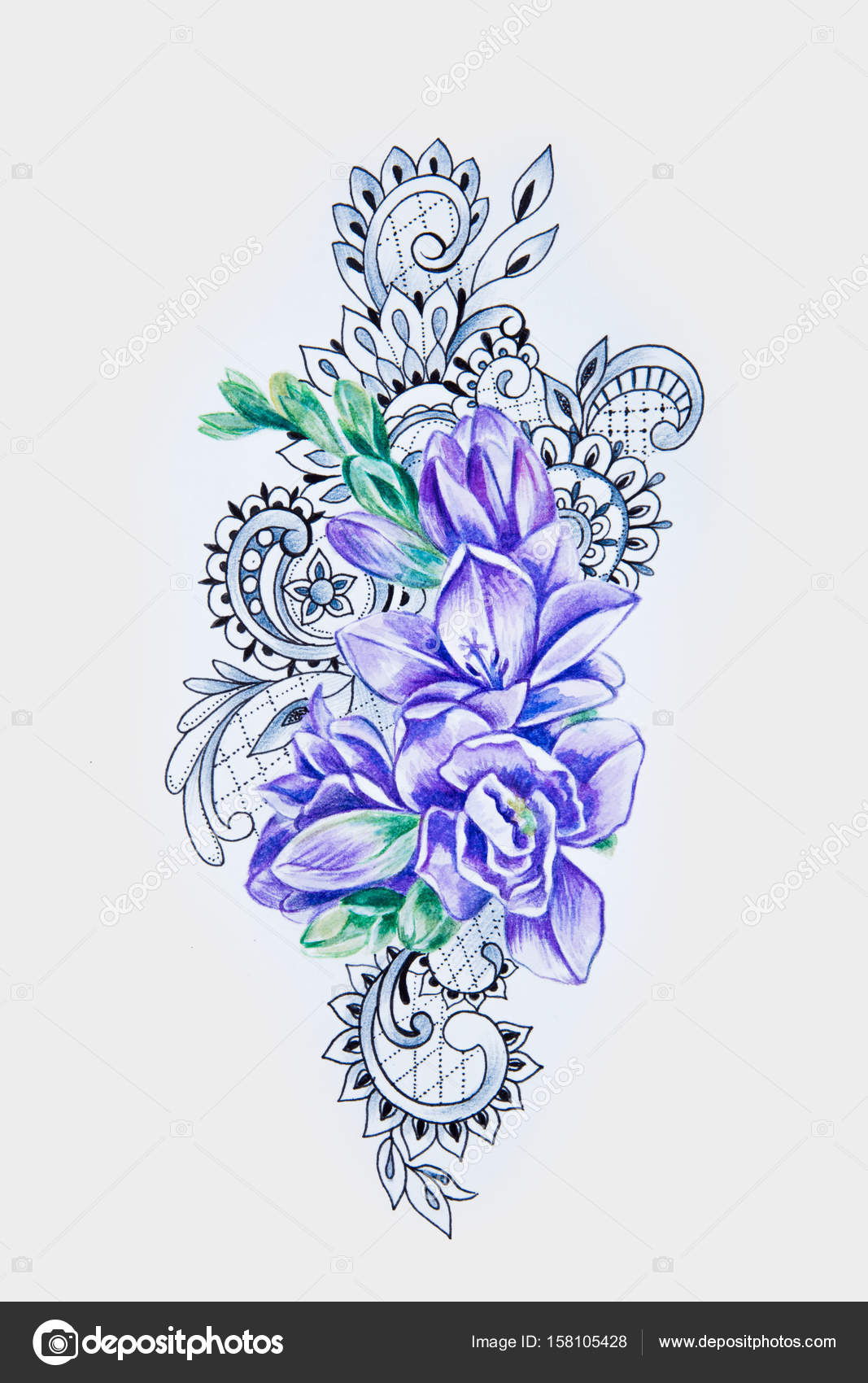 5a948250b A sketch of a beautiful violet freesia in patterns on a white background.–  stock image