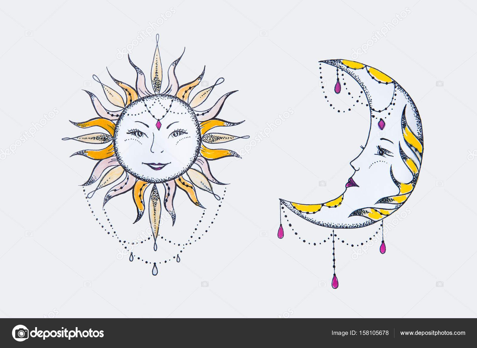Dibujo Del Sol Y La Luna Contra Un Fondo Blanco Fotos De Stock