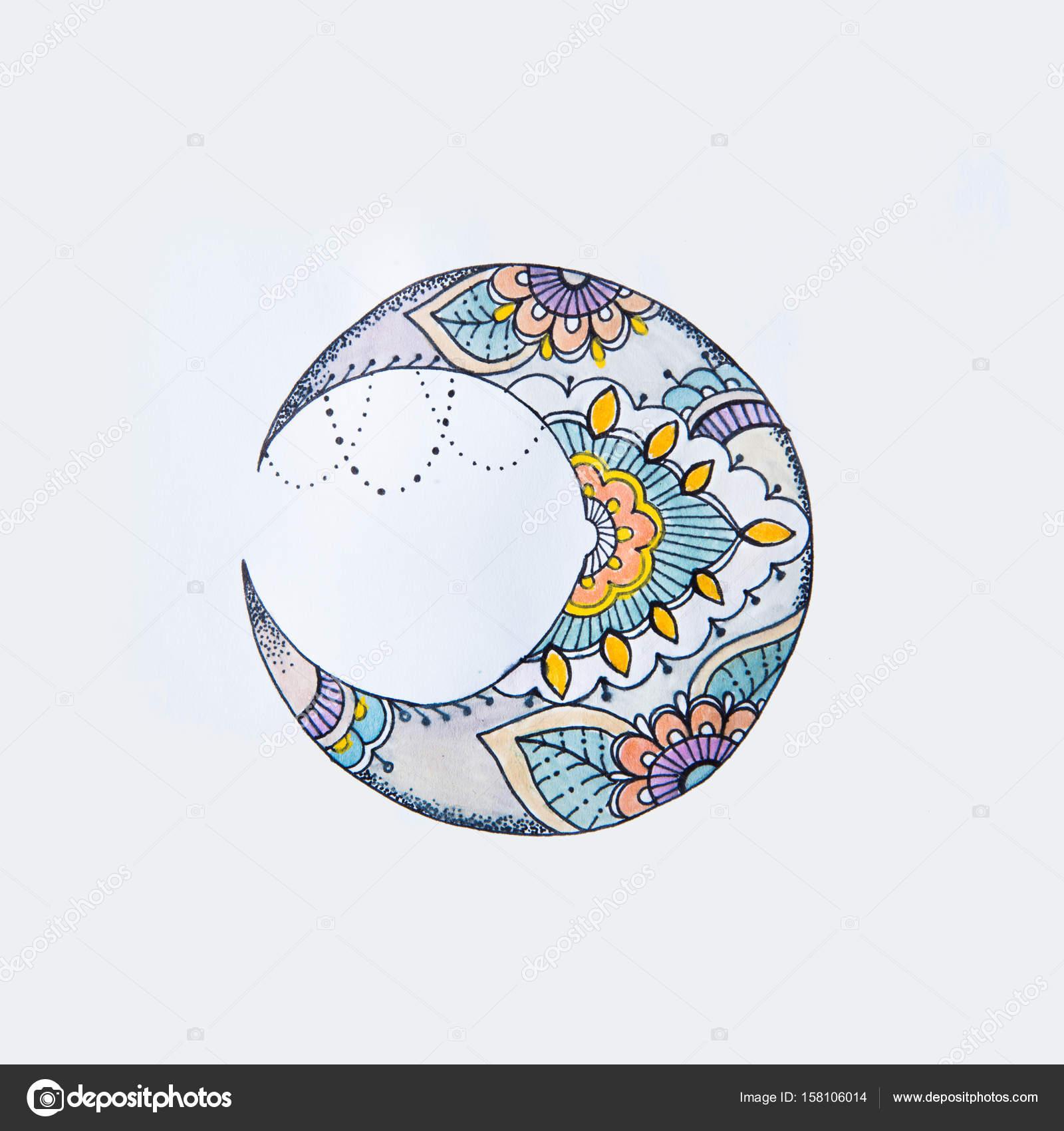 Un Dibujo De Una Hermosa Luna En Patrones Sobre Un Fondo Blanco