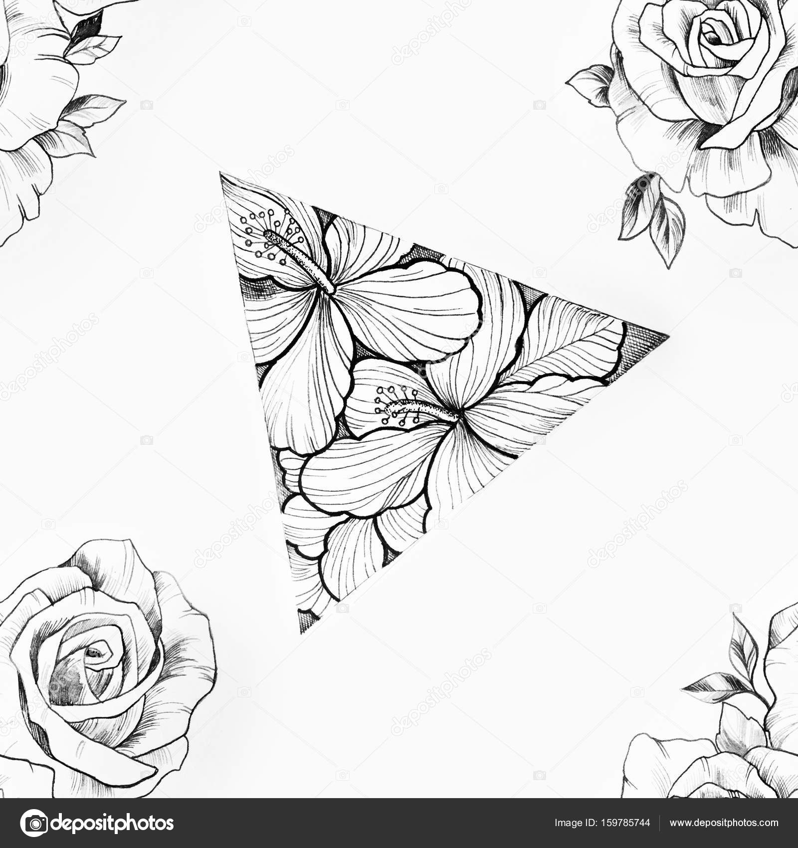 Seamless Pattern Of A Triangle In Flowers And Roses On A