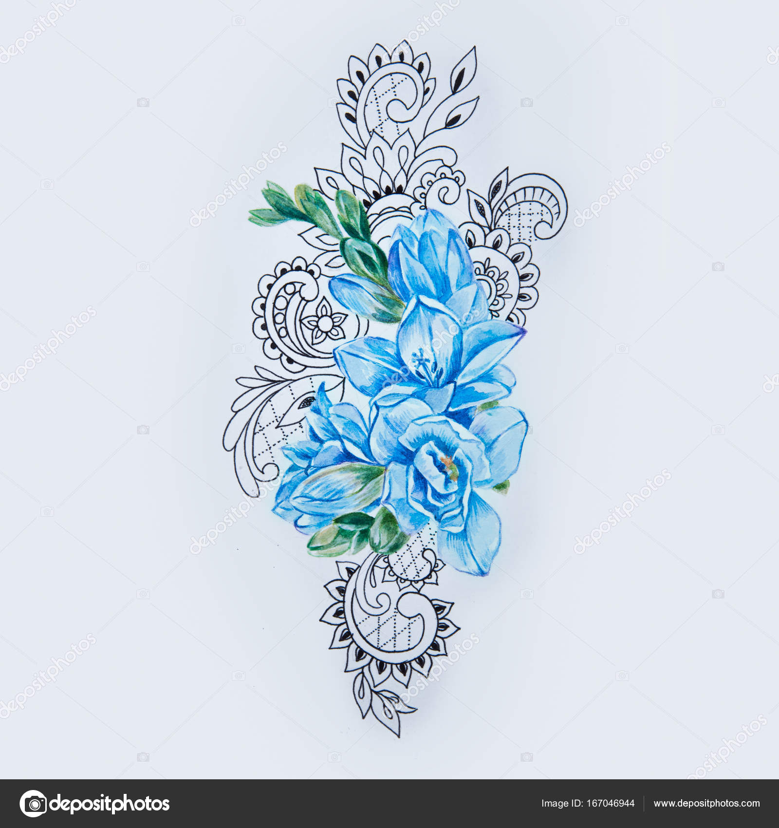 06c11e9aa A sketch of blue freesia flower in a beautiful pattern on a white background.–  stock image