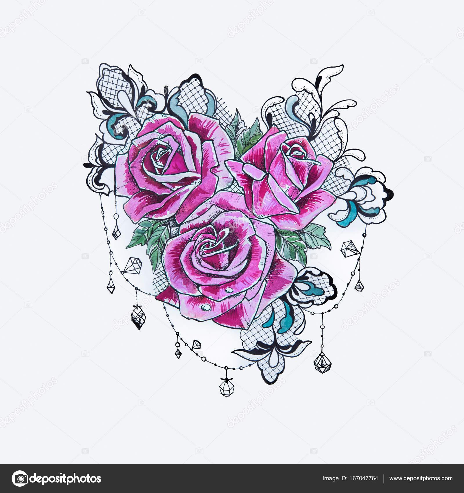 un dibujo de un hermoso ramo de rosas de color púrpura sobre un