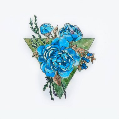 Sketch of a blue peony in a triangle on a white background.