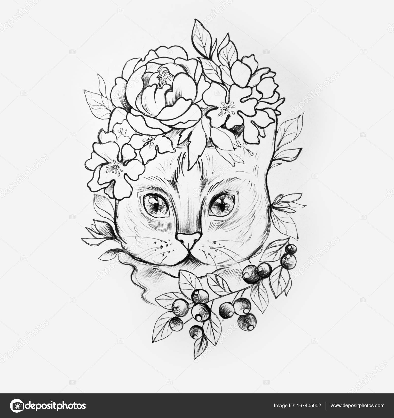 Sketch Of A Cats Head In Beautiful Flowers On A White Background
