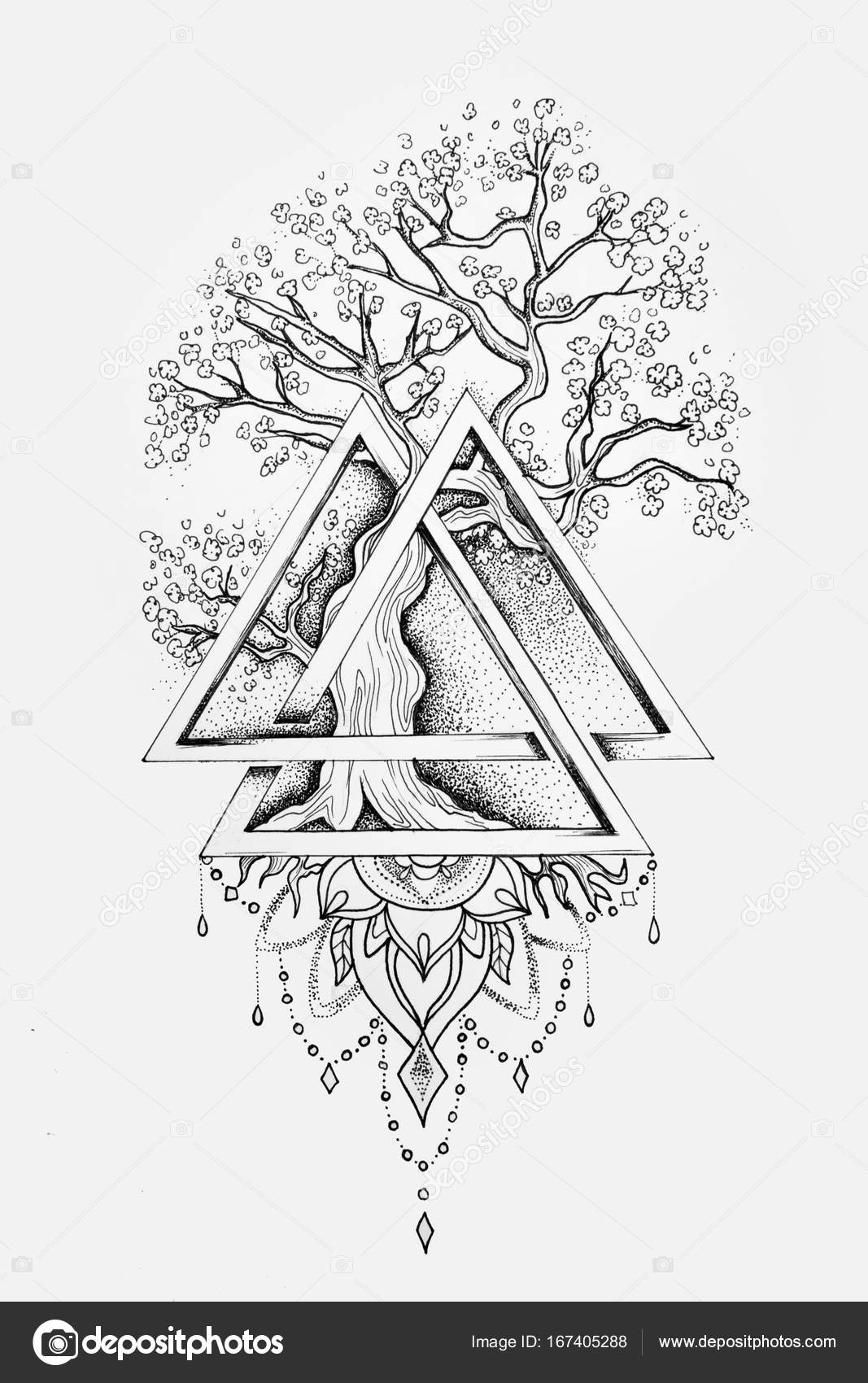 A Sketch Of A Beautiful Big Tree In A Triangle On A White Background Stock Photo Image By C Nookphoto Mail Ru 167405288