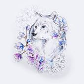 Photo Sketch of a beautiful wolf in flowers on a white background.