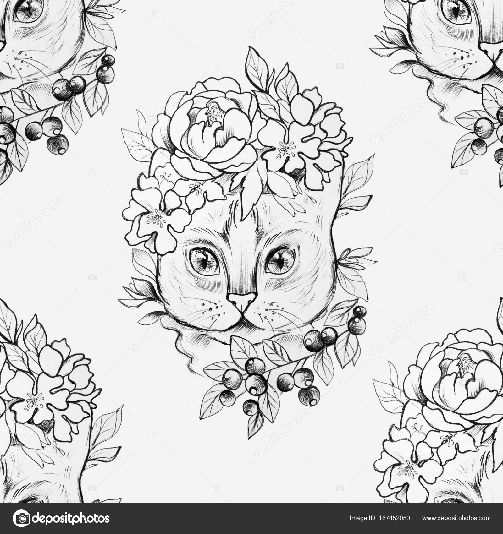 Sem Costura Desenho De Uma Cabeça De Gato Em Lindas Flores
