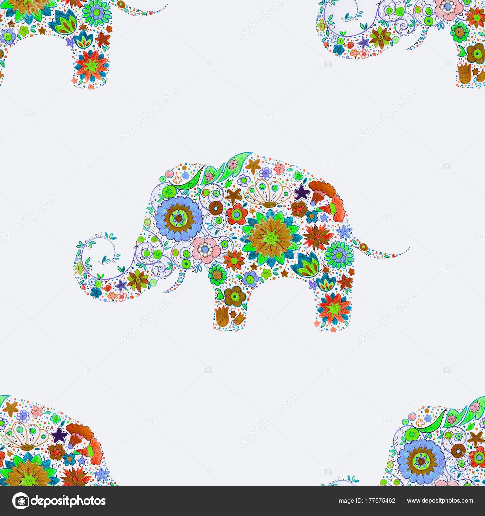 Elefante de patrones sin fisuras en hermosos colores sobre un fondo ...